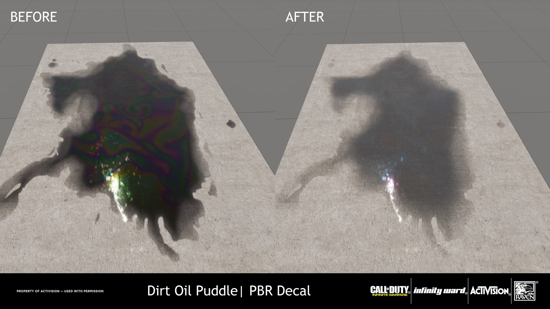 For the Oil puddle, Iridescence mask were generated and the value for the highlight was lowered. Diffuse value was adjusted to be lighter while still having a dark value for the opaqueness.