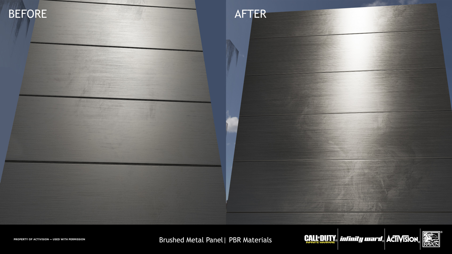 Specular and Gloss values were fixed as well as the creation of a mask for the Anisotropic Shader to enhance the brushed metal look.