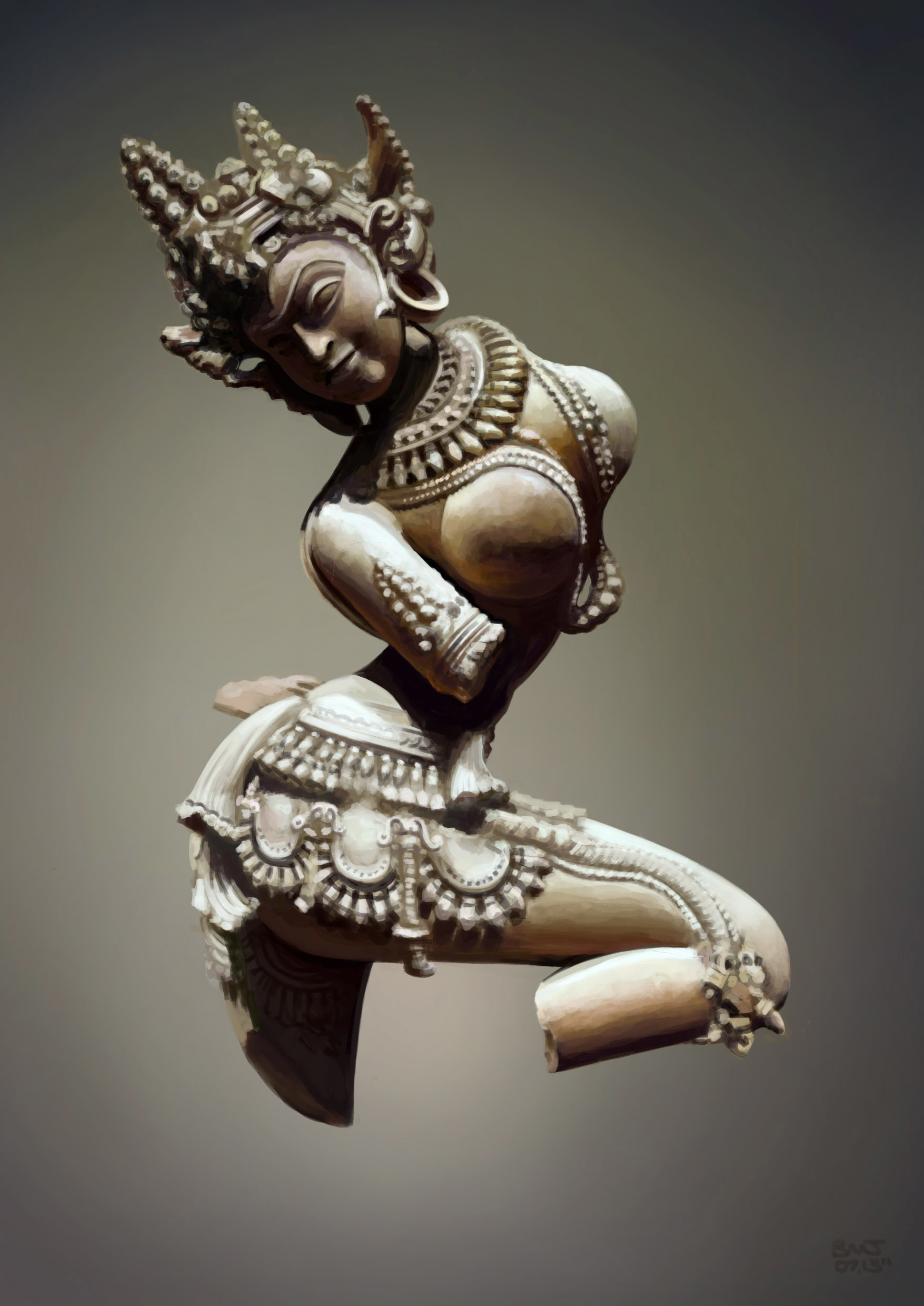 Photoshop photo study, ancient Satara sculpture