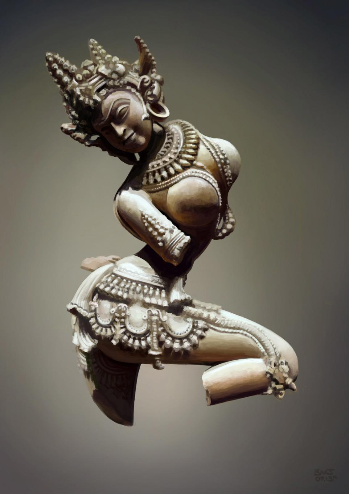 Photoshop photo study, ancient Satara sculpture