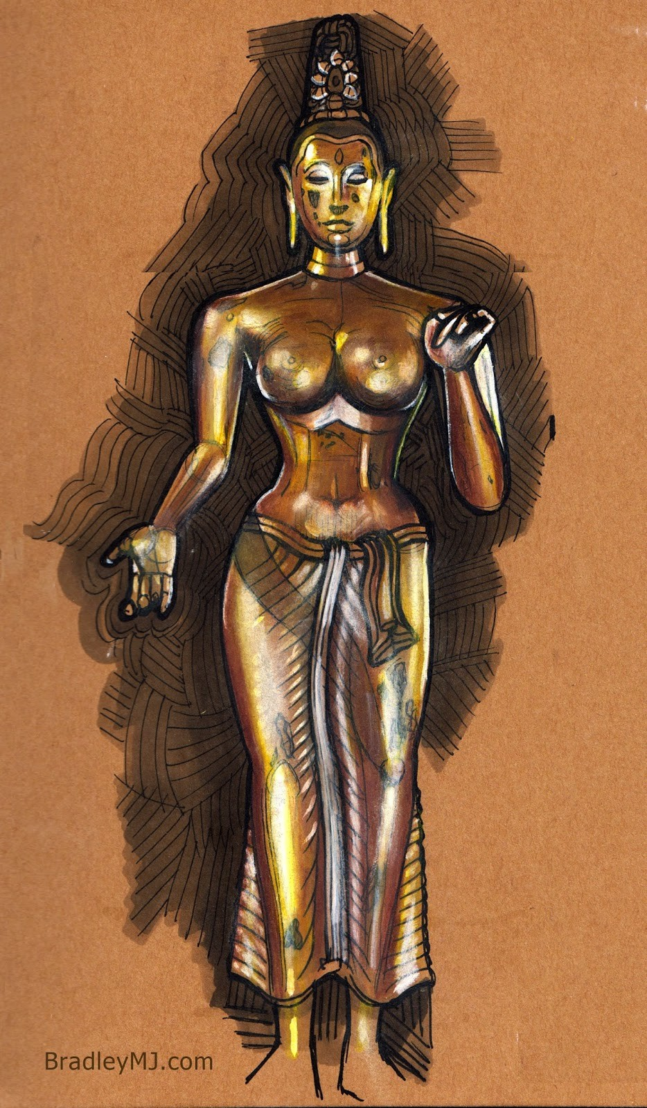 Museum study, ancient hindu goddess statue from Sri Lanka