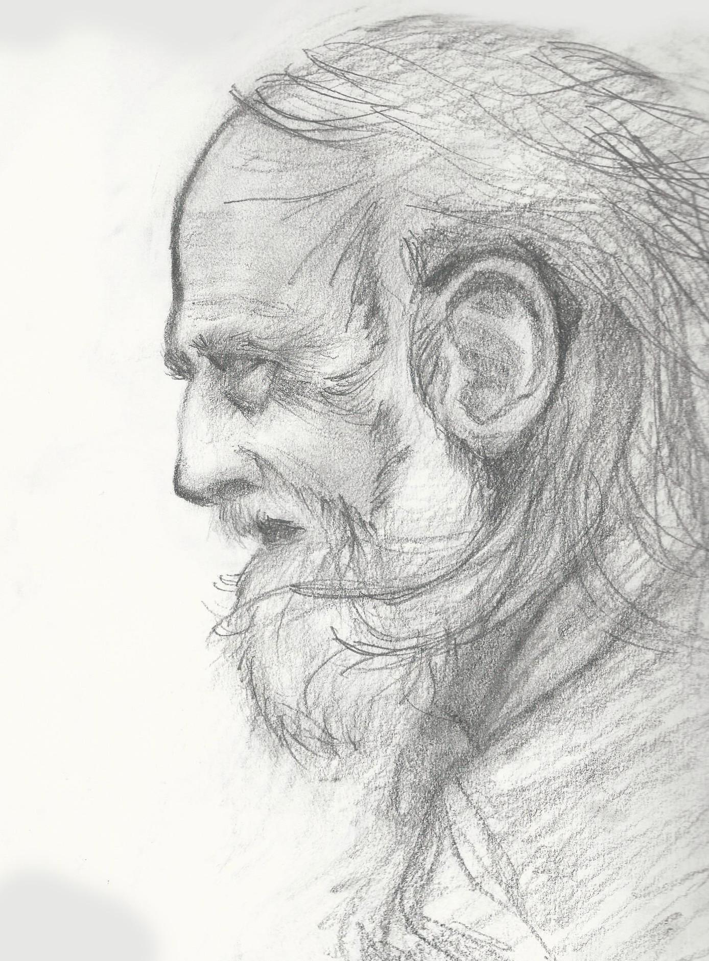 artstation old man profile drawing m francisco