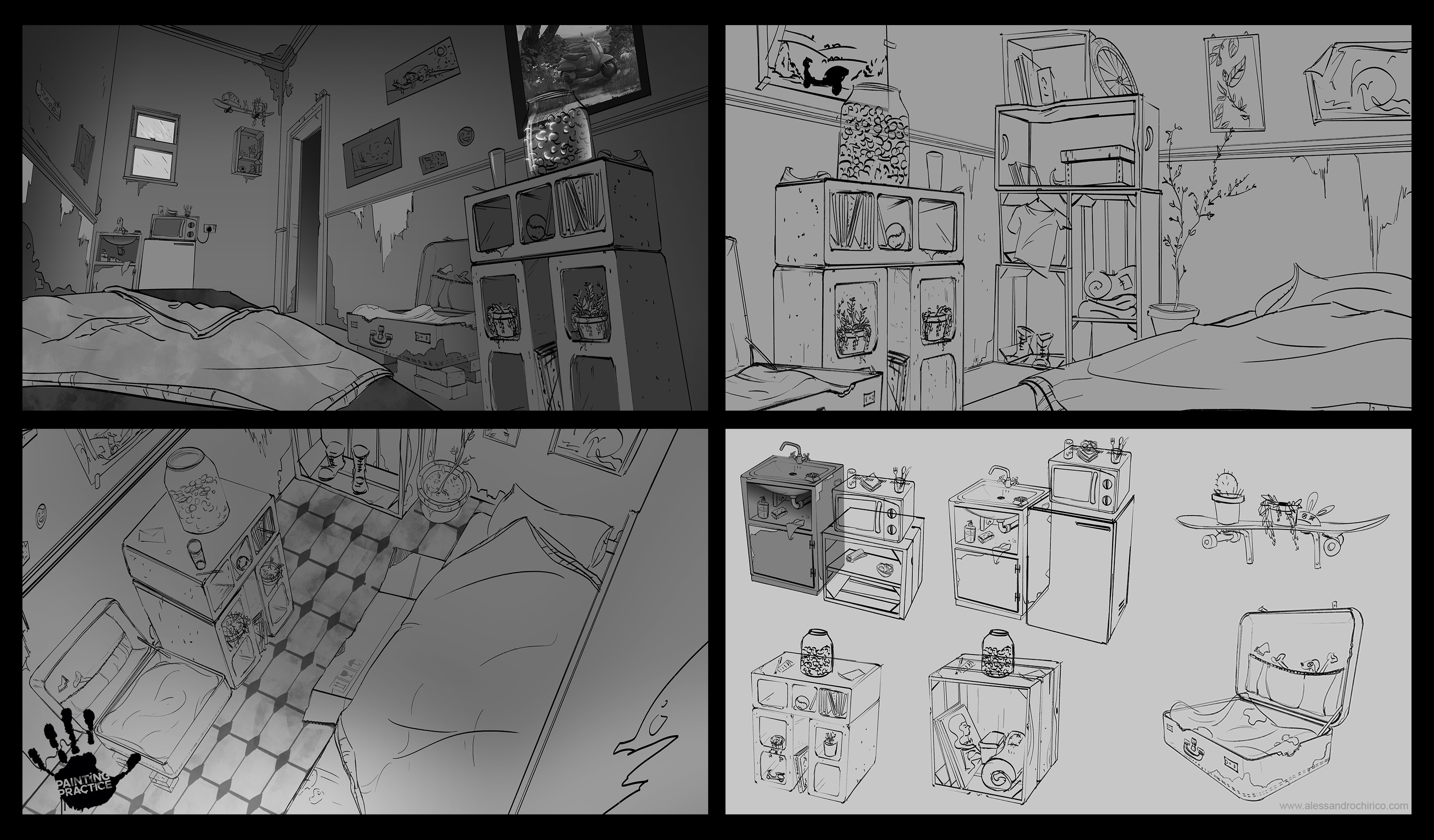 Early stage layout done to figure out the details inside Jack's apartment
