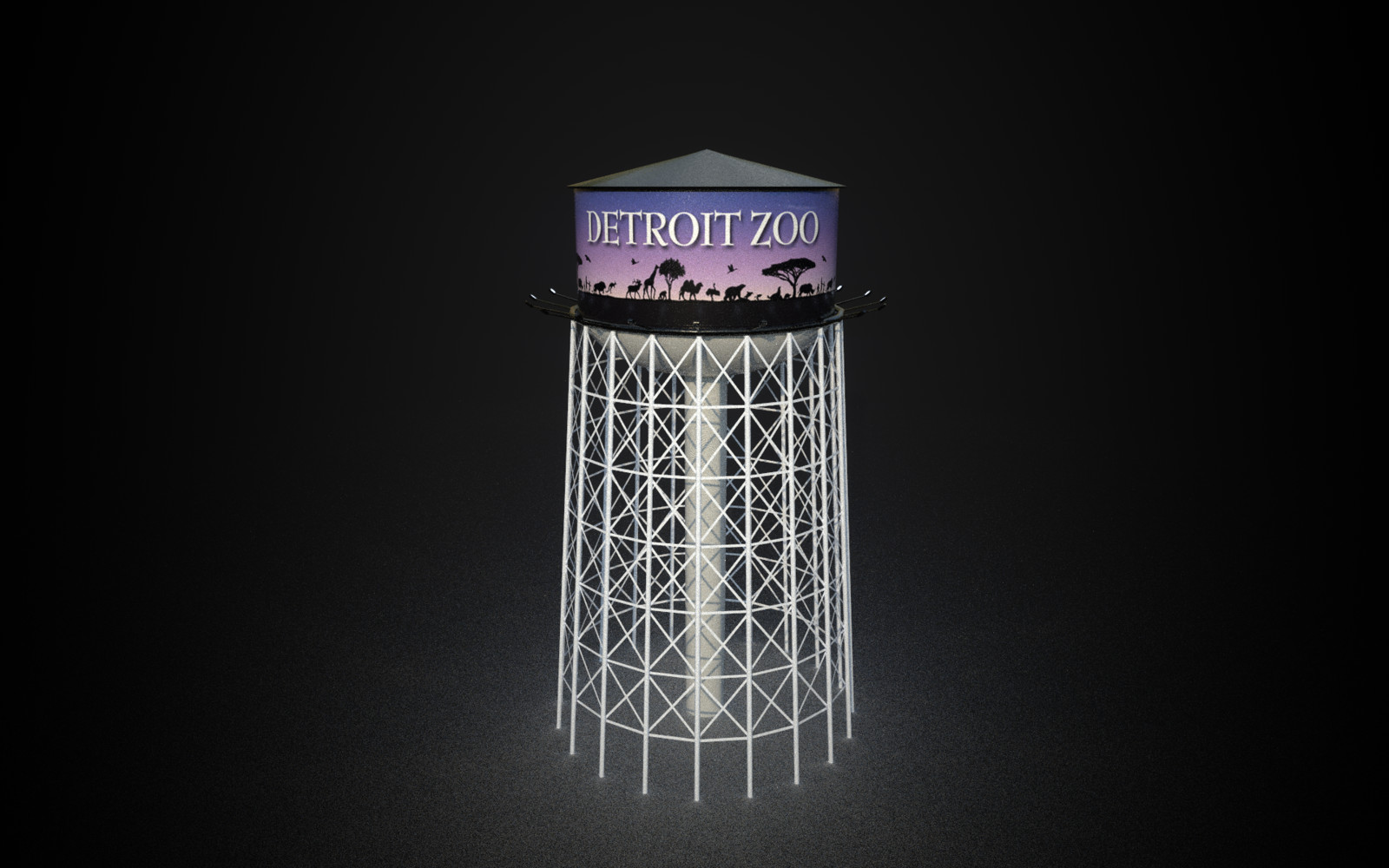 Water Tower with Detroit Zoo graphic