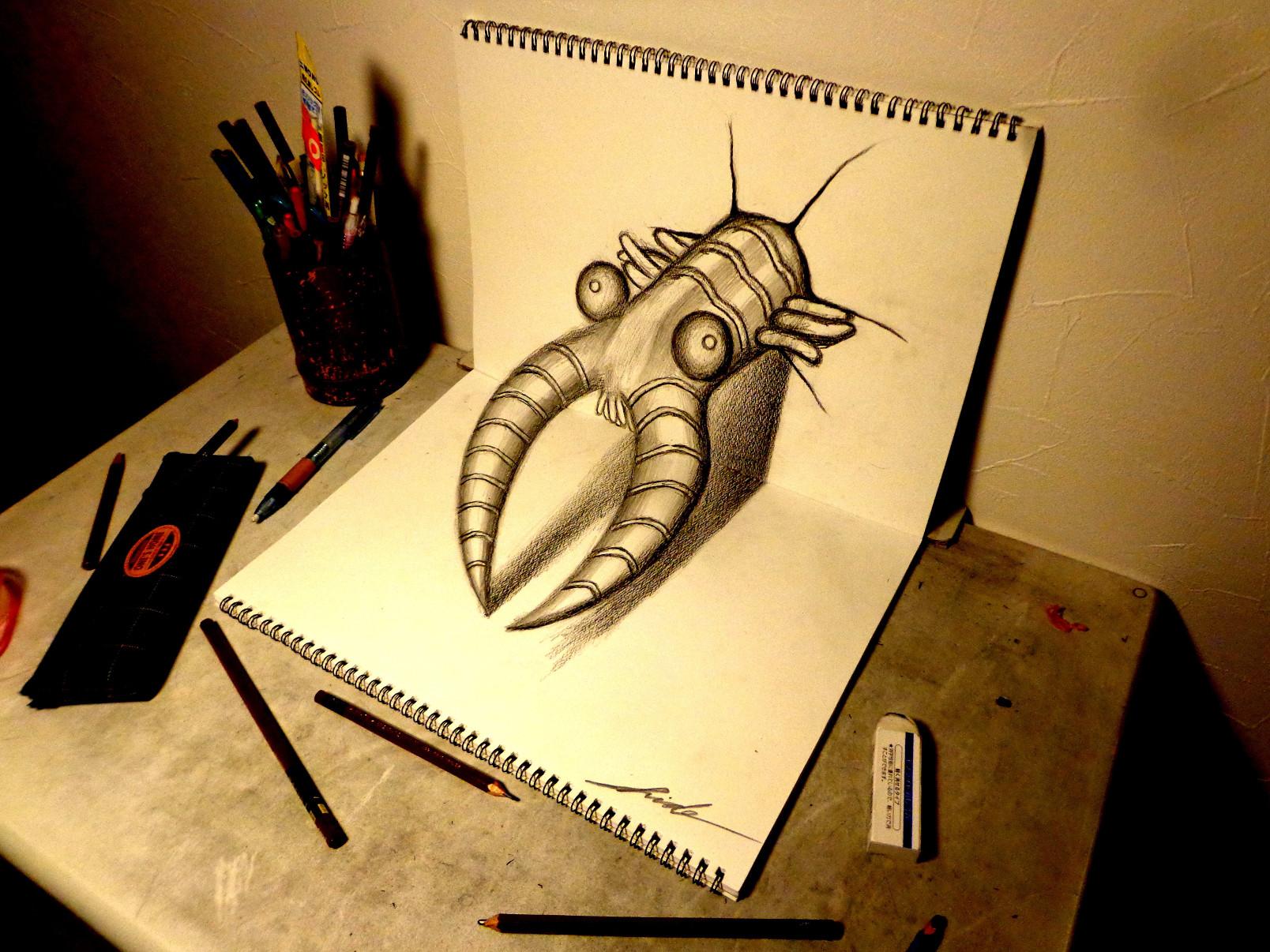 Прикольные рисунки карандашом 3д, упаковать