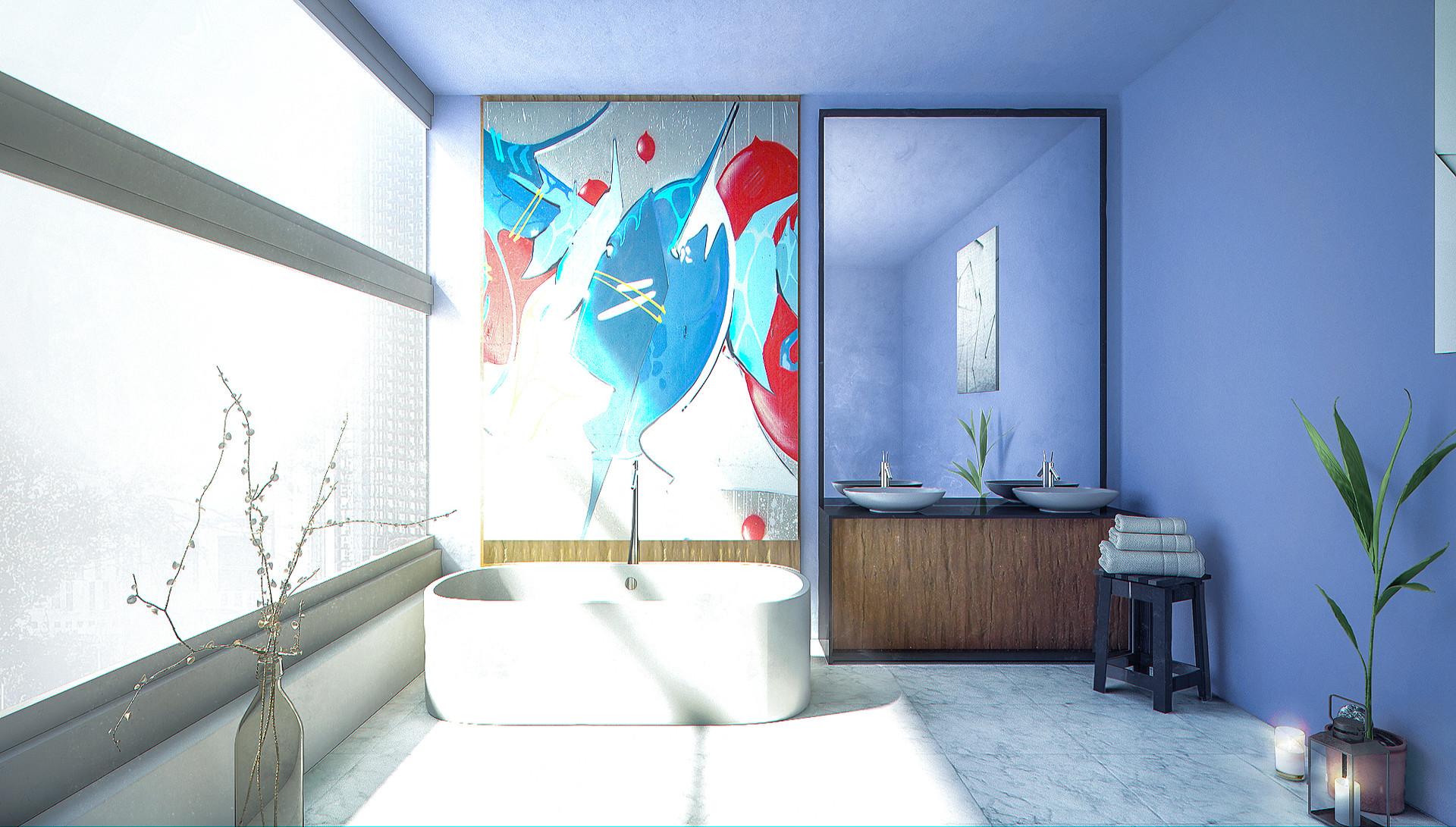 ArtStation - Modern Luxury Bathroom Render, Christian Tejada