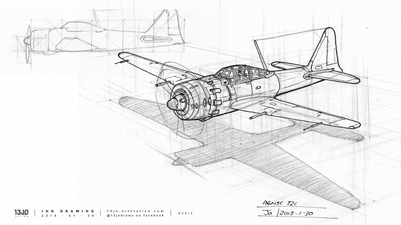 Draw-through perspective drawing exercise of a Mitsubishi A6M Zero, constructed in graphite pencil and finished off with ink pen line-art.