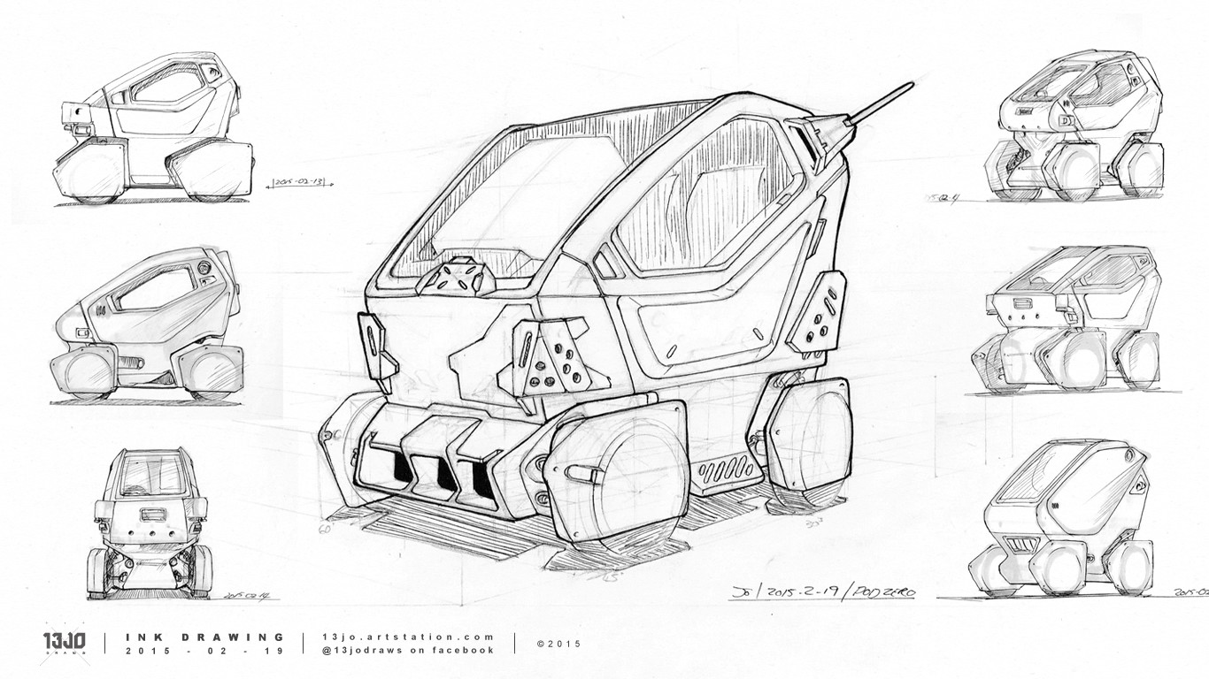 Studies and concept sketches of the Pod Zero with ink pen.