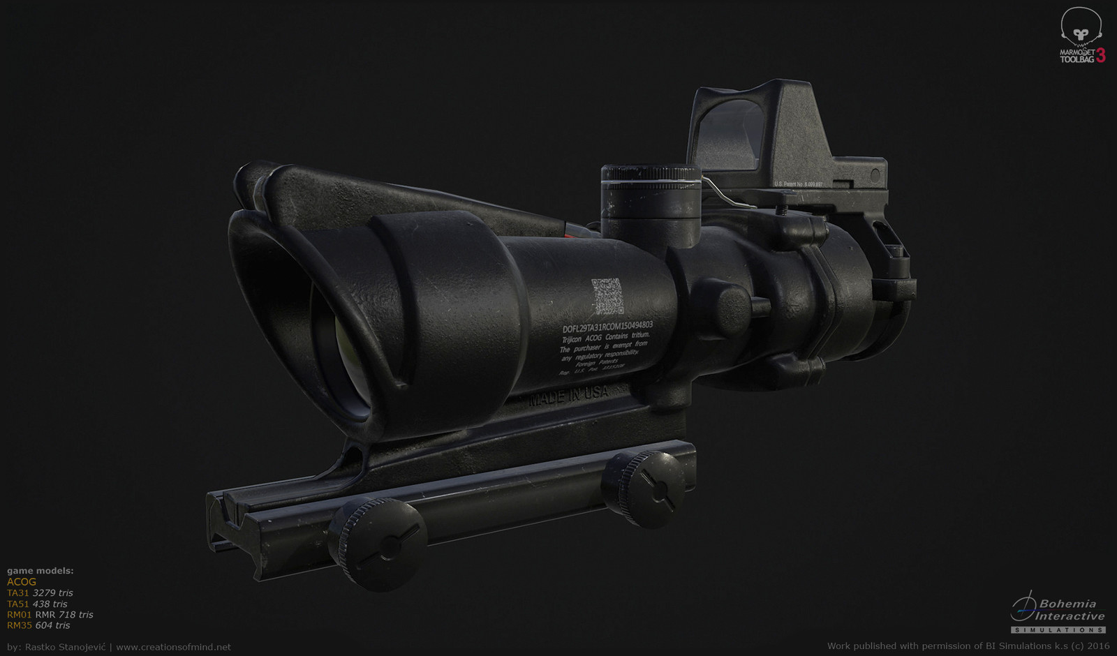 Real time render of Trijicon Acog modular model (contains ta31, ta51, rm01 and rm35). All together 5.139 triangles