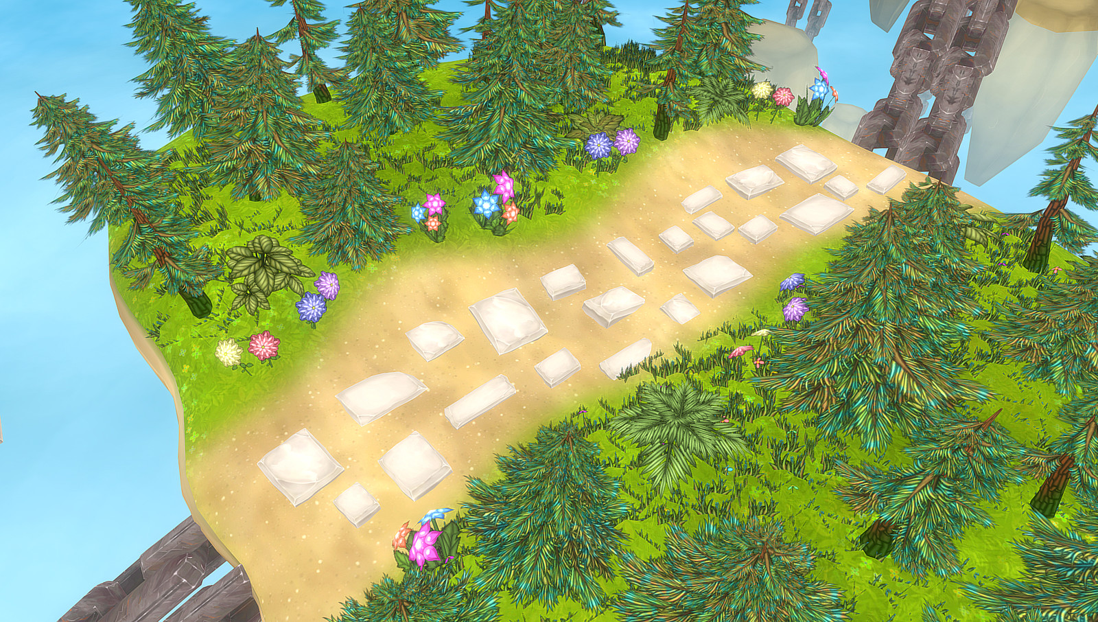 Working on the foliage and on some sunken path stones.