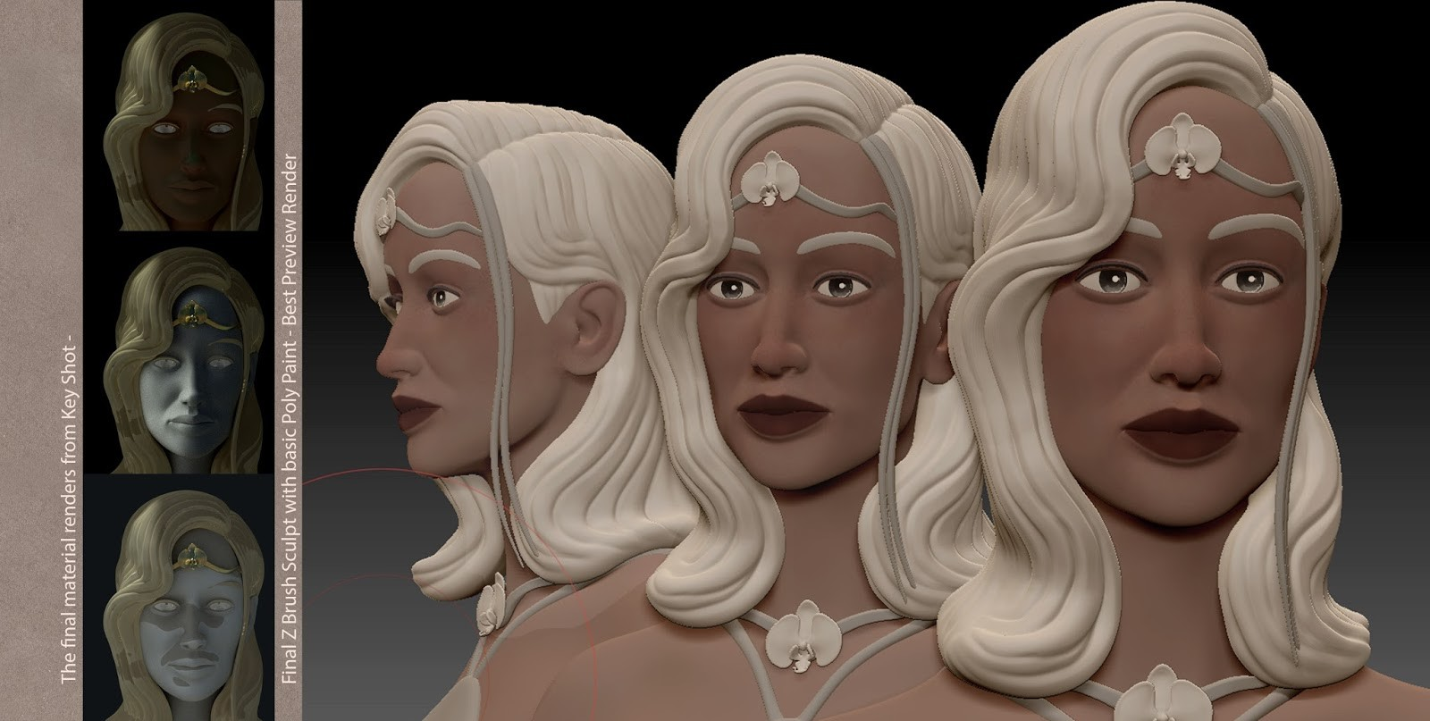Final Z Brush Sculpt with key shot render passes (left)