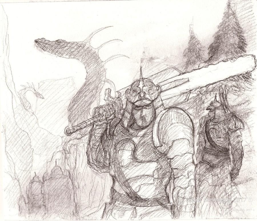 Traveling samurai - sketch