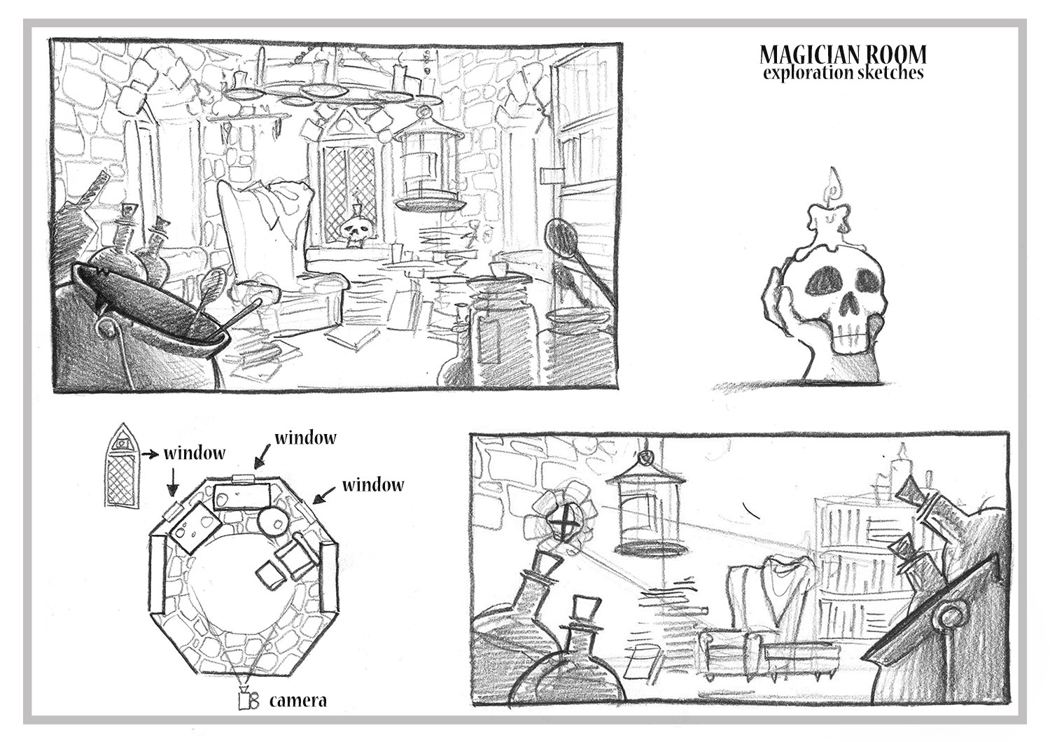 Sketches and concept of the room.