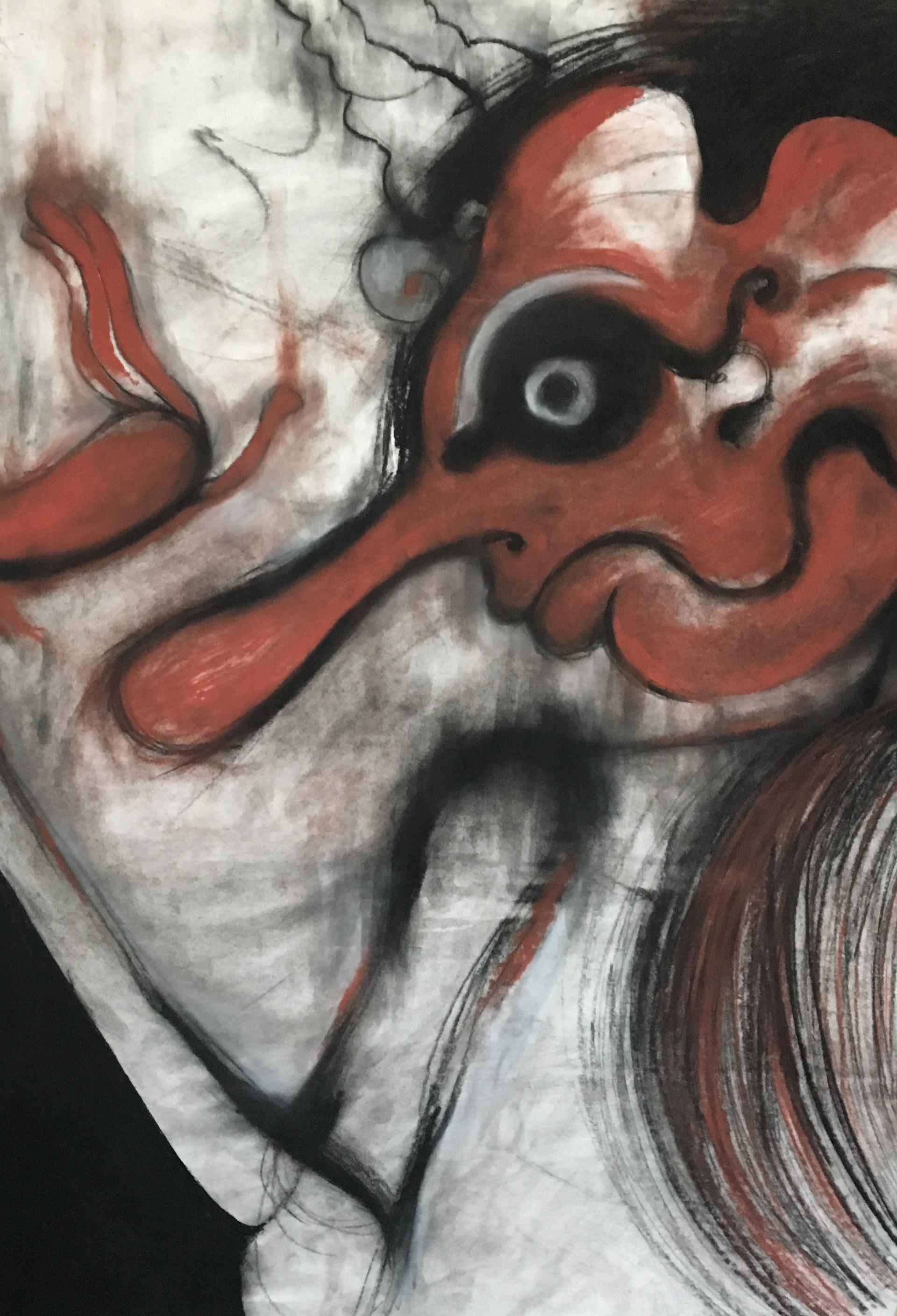 """Menakutkan"" | Charcoal, Conte Crayon on Paper"