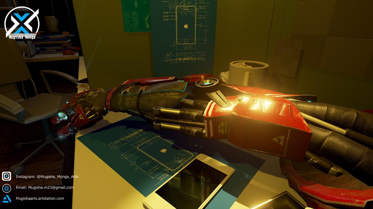 Robot Arm in Unreal Scene.
