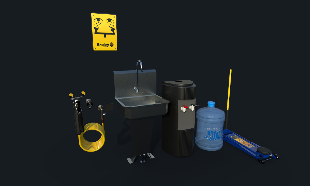 Garage Asset Group - Eyewash Station, Deep Sink, Water Cooler, Floor Jack