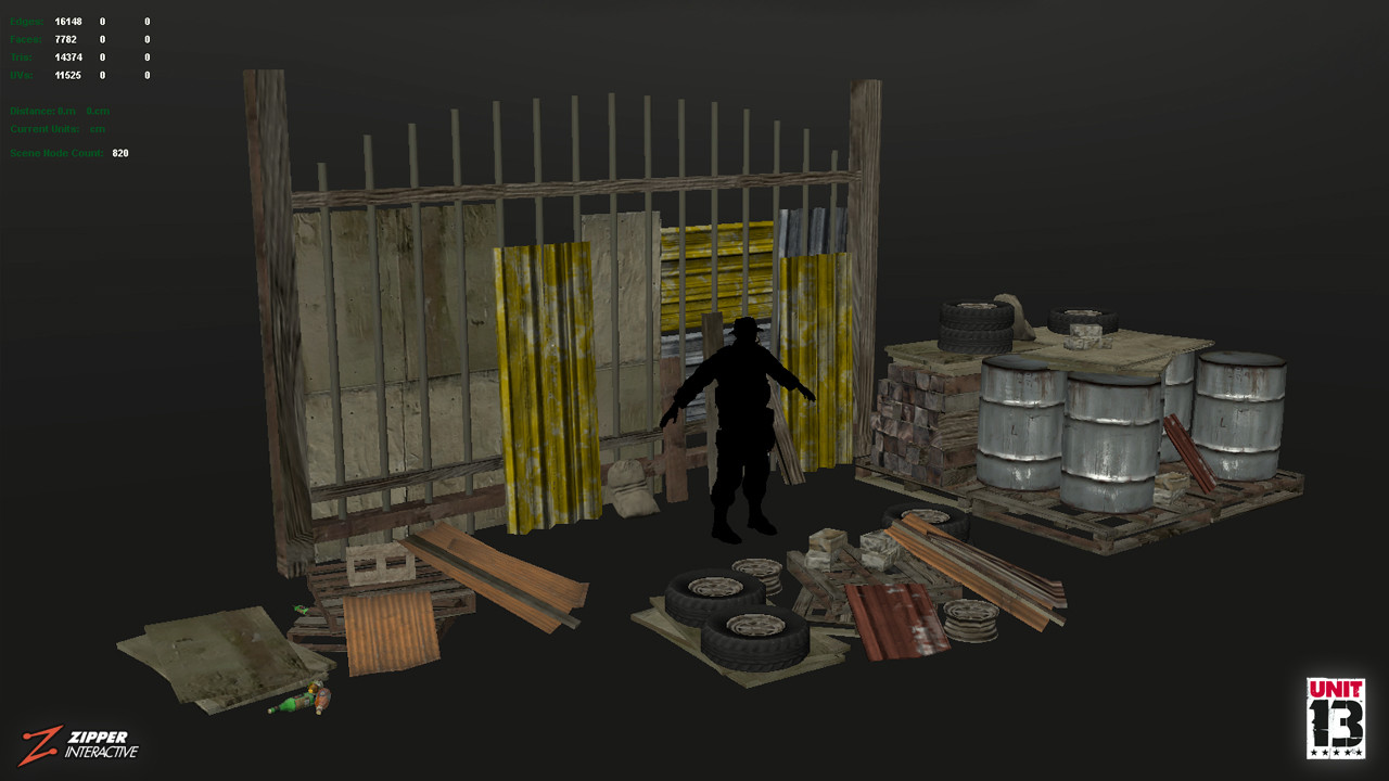 Makeshift Bunker, props laid out in Maya