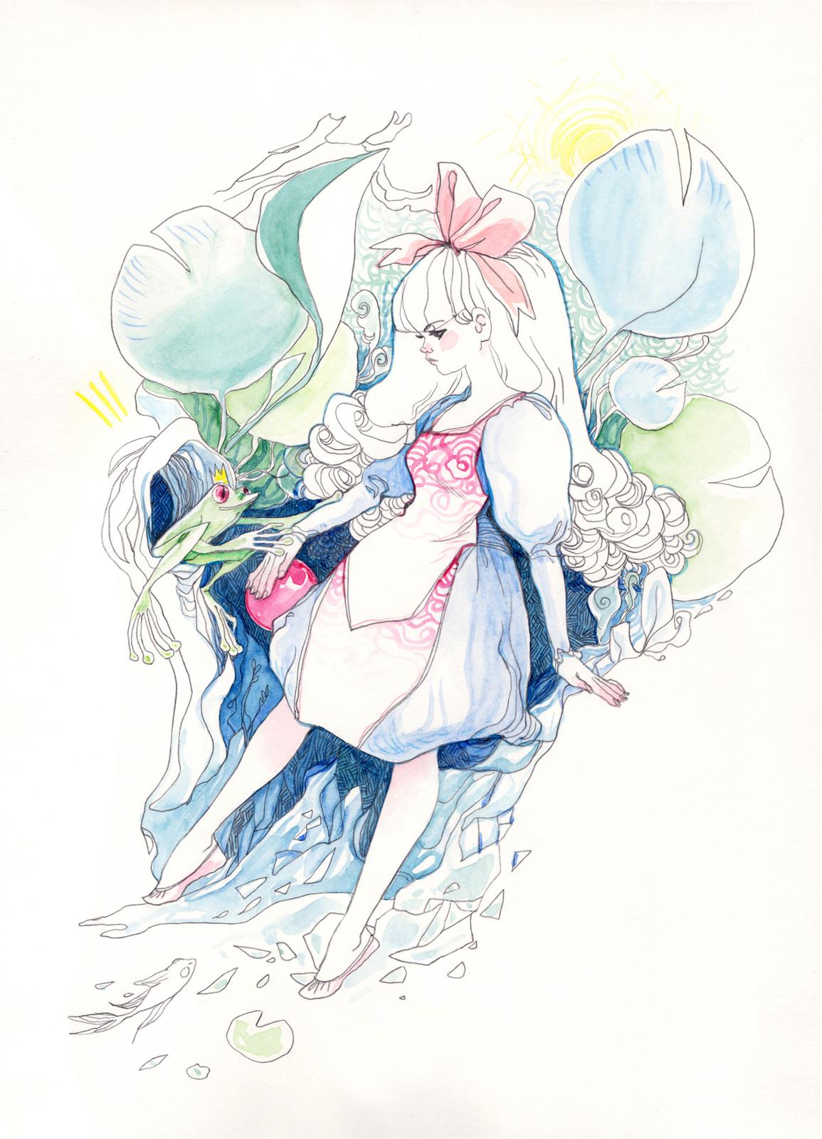 Alice in Wonderland revisited - Arludik Gallery collective exhibition in Paris - watercolor + 2B 3mm pencil.