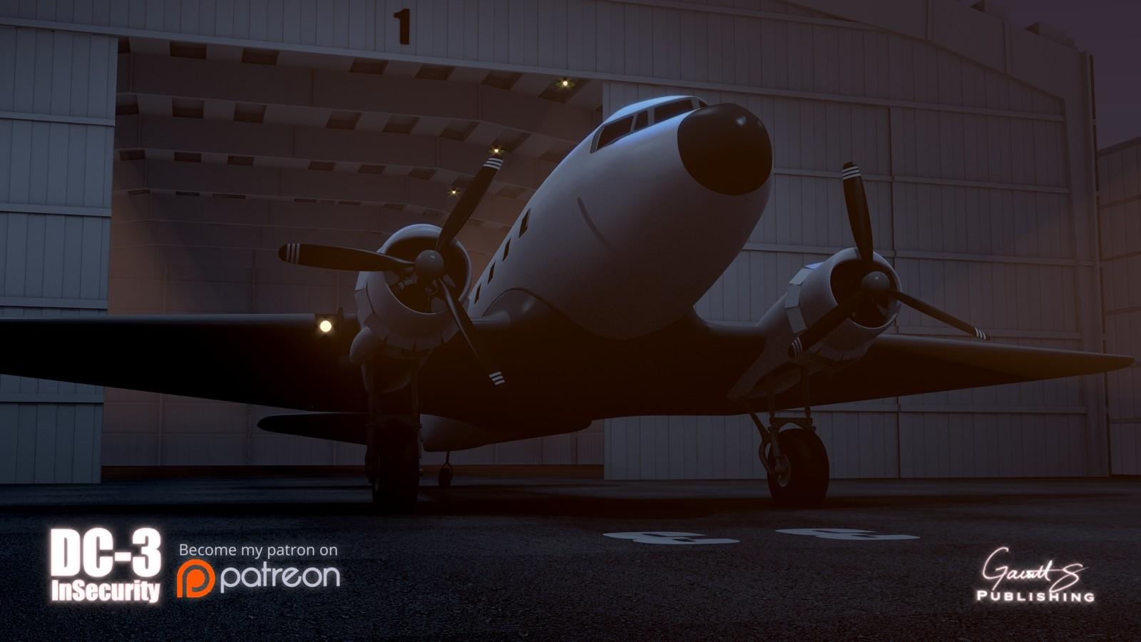 DC-3 model in scene