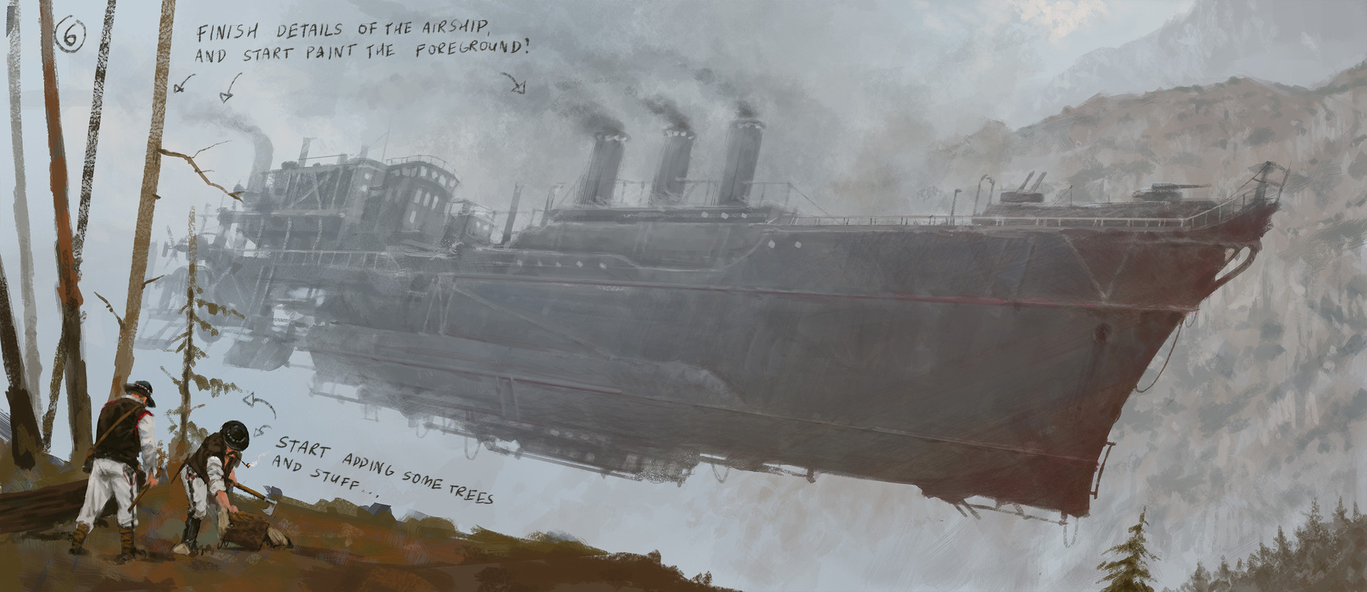 Jakub rozalski airship expansion cover art process5