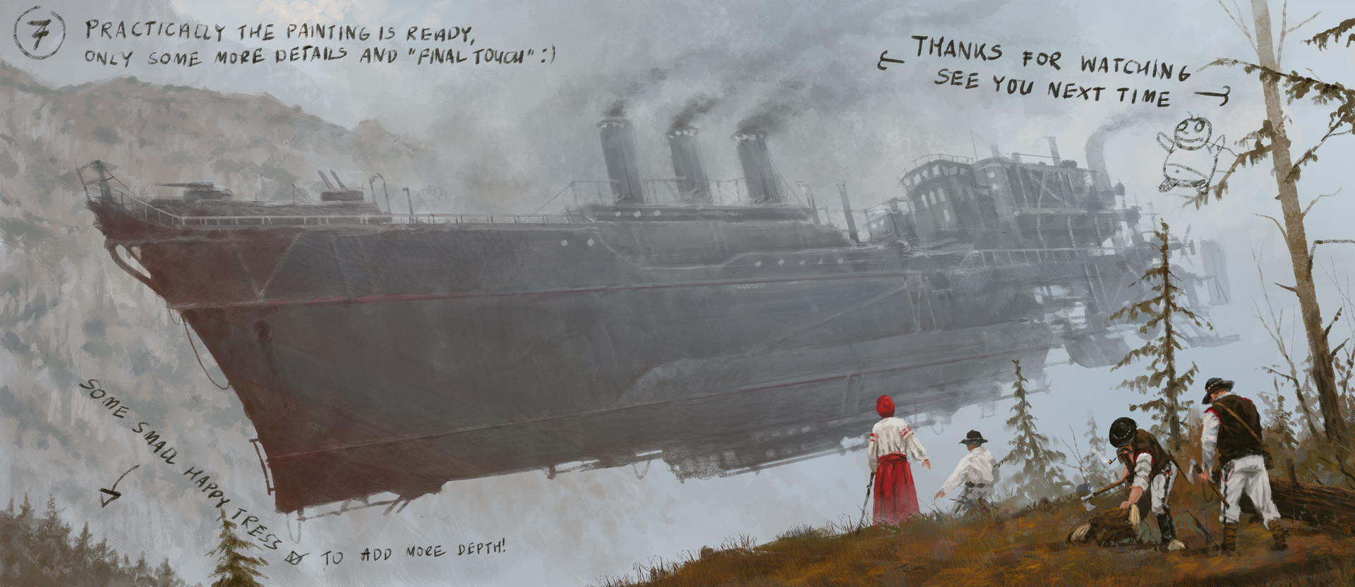 Jakub rozalski airship expansion cover art process6
