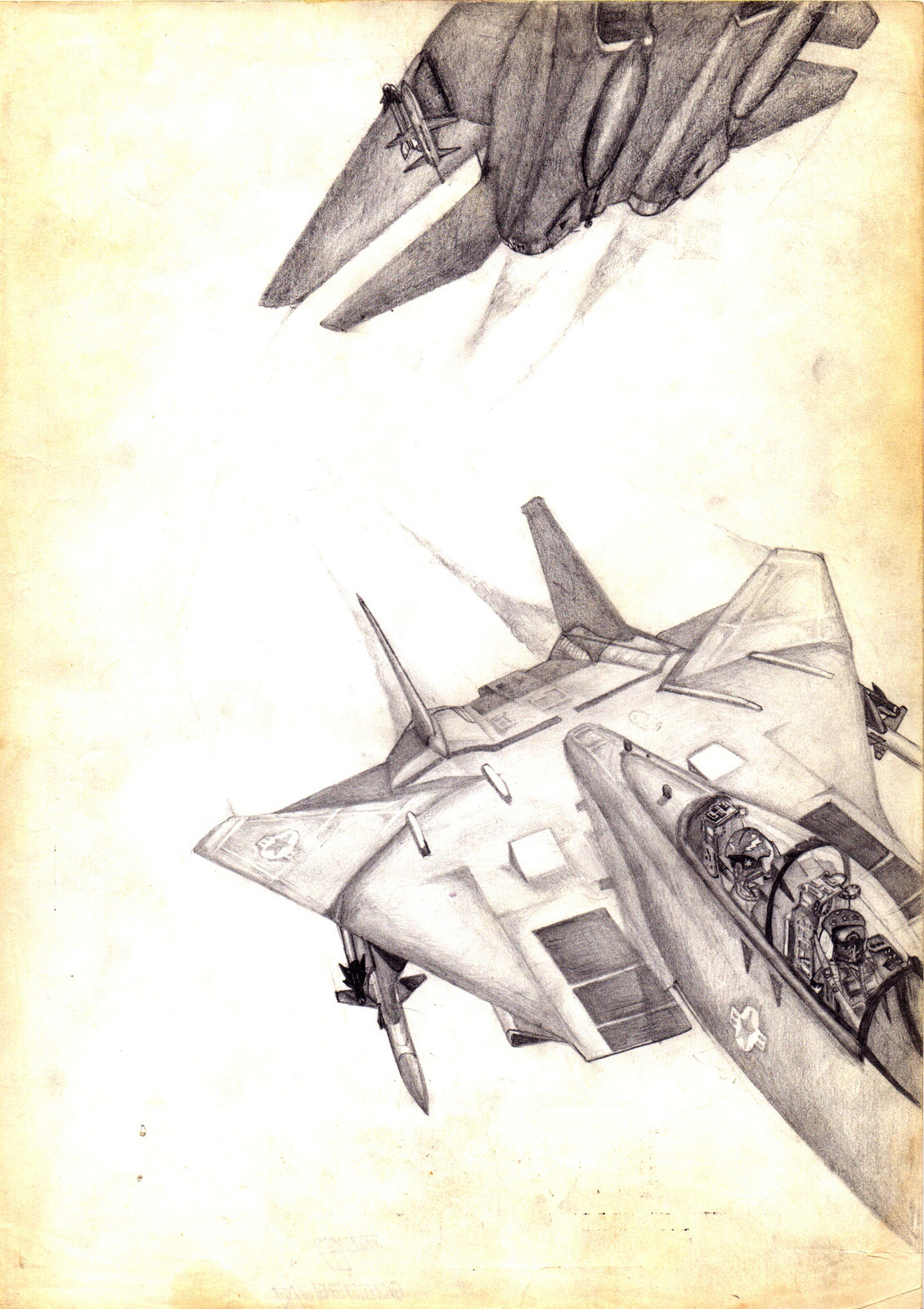 A couple of Tomcats I drew on A4 paper using graphite technical 0.5 Rotring pencil. Shit, I had nerves of steel back in 6th grade!