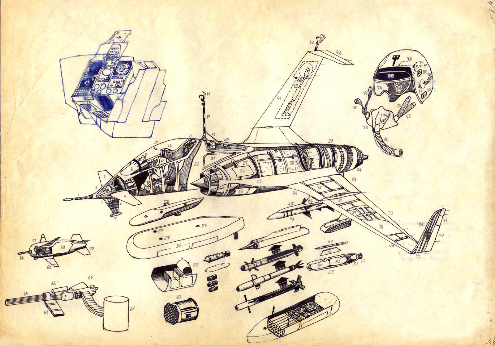 My very first concept design: a single seat light fighter launched from a colossal aerial carrier (thus the reason for folding wings and upward-pointing arrester hooks used to attach to a flying landing bay) Done in seventh grade :-)