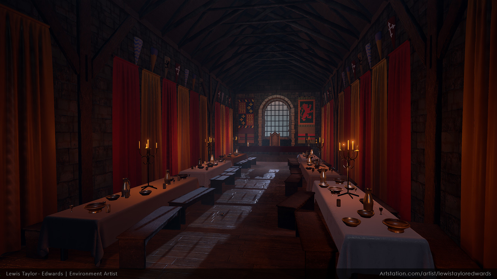 artstation - castle interior, lewis taylor-edwards