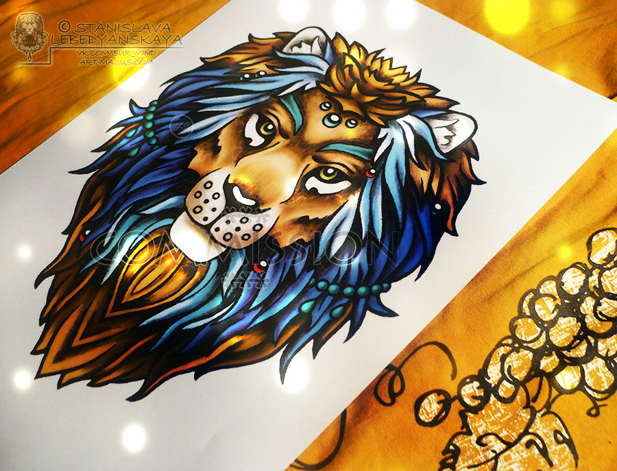 Цветная львица эскиз тату