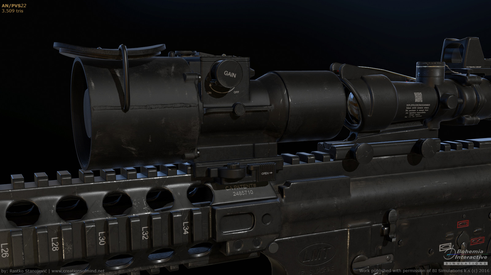 AN/PVS-22, shown on rifle | real time render | 3.509 tris