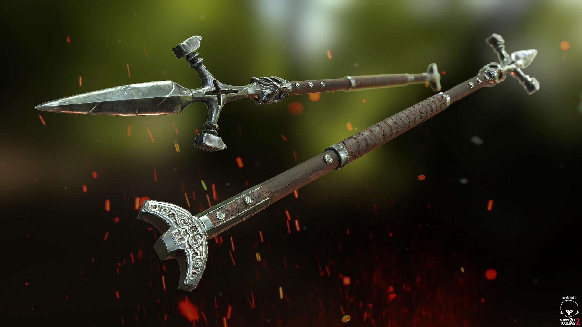 ArtStation - Valkyrie Shield and Spear, James Atkinson