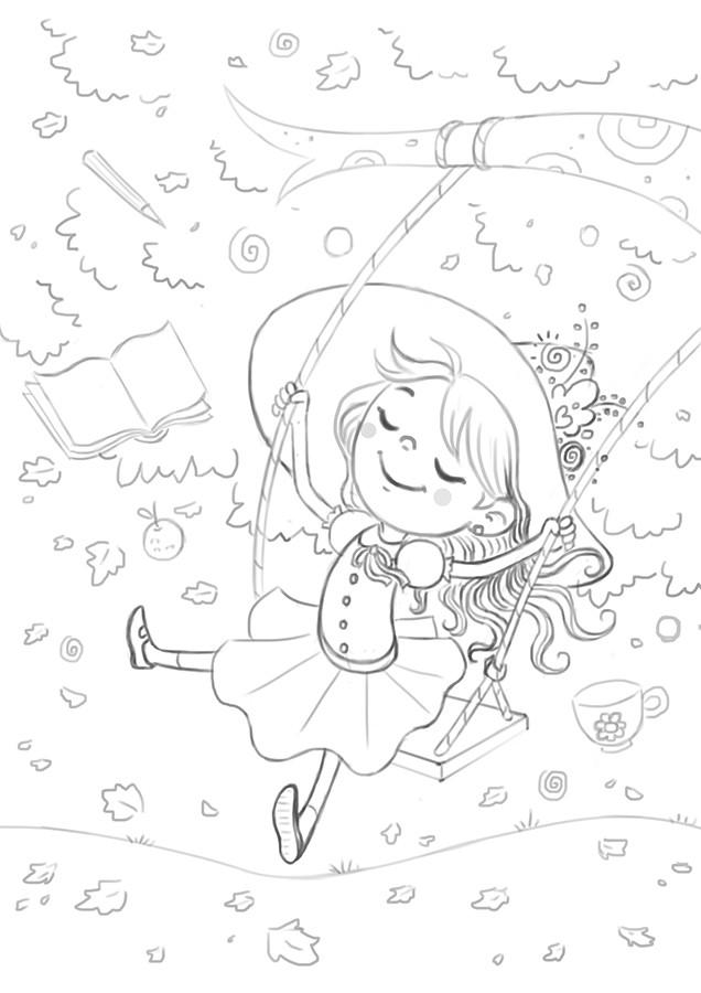 Bruna sousa ilustra folhas laranjas sketch 02