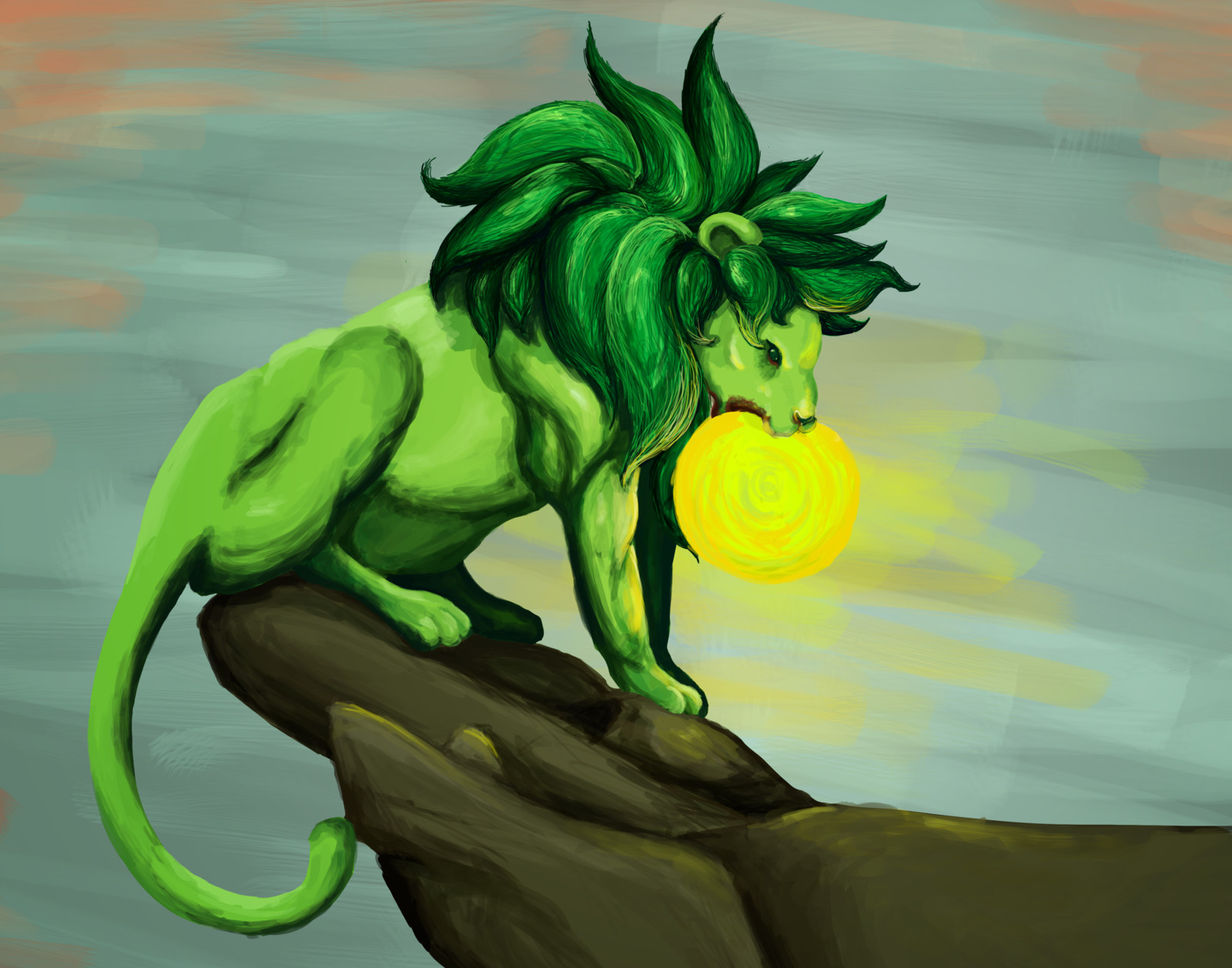 Green Lion Eating the Sun