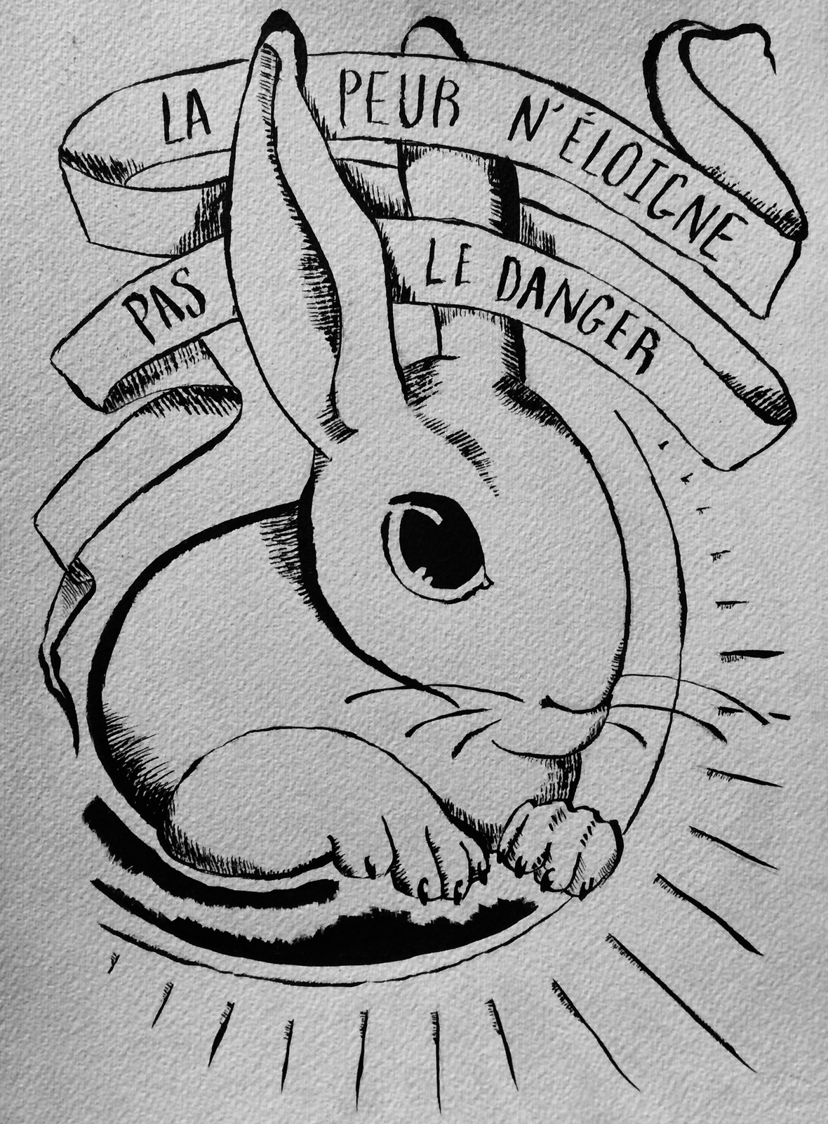 """La peur n'eloigne pas le danger"" / ""Fear does not distance danger"" (saying)"