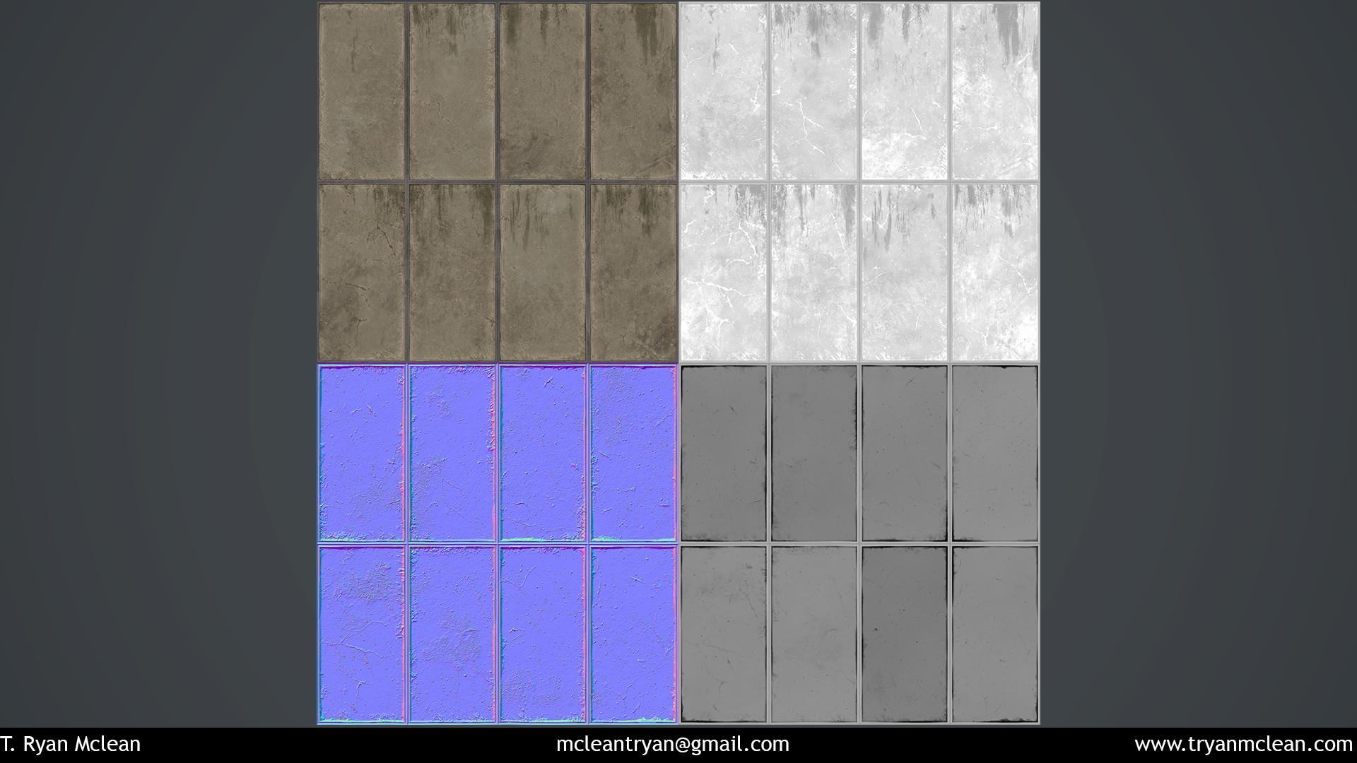 Broken Concrete Panels Texture Flats. Albedo, Roughness. Normal. Height.