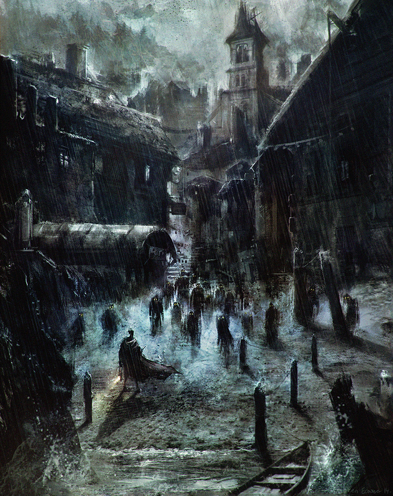 Sebastien ecosse innsmouth lovecraft hp fishmen creatures monsters book illustration sebastien ecosse concept harbour port