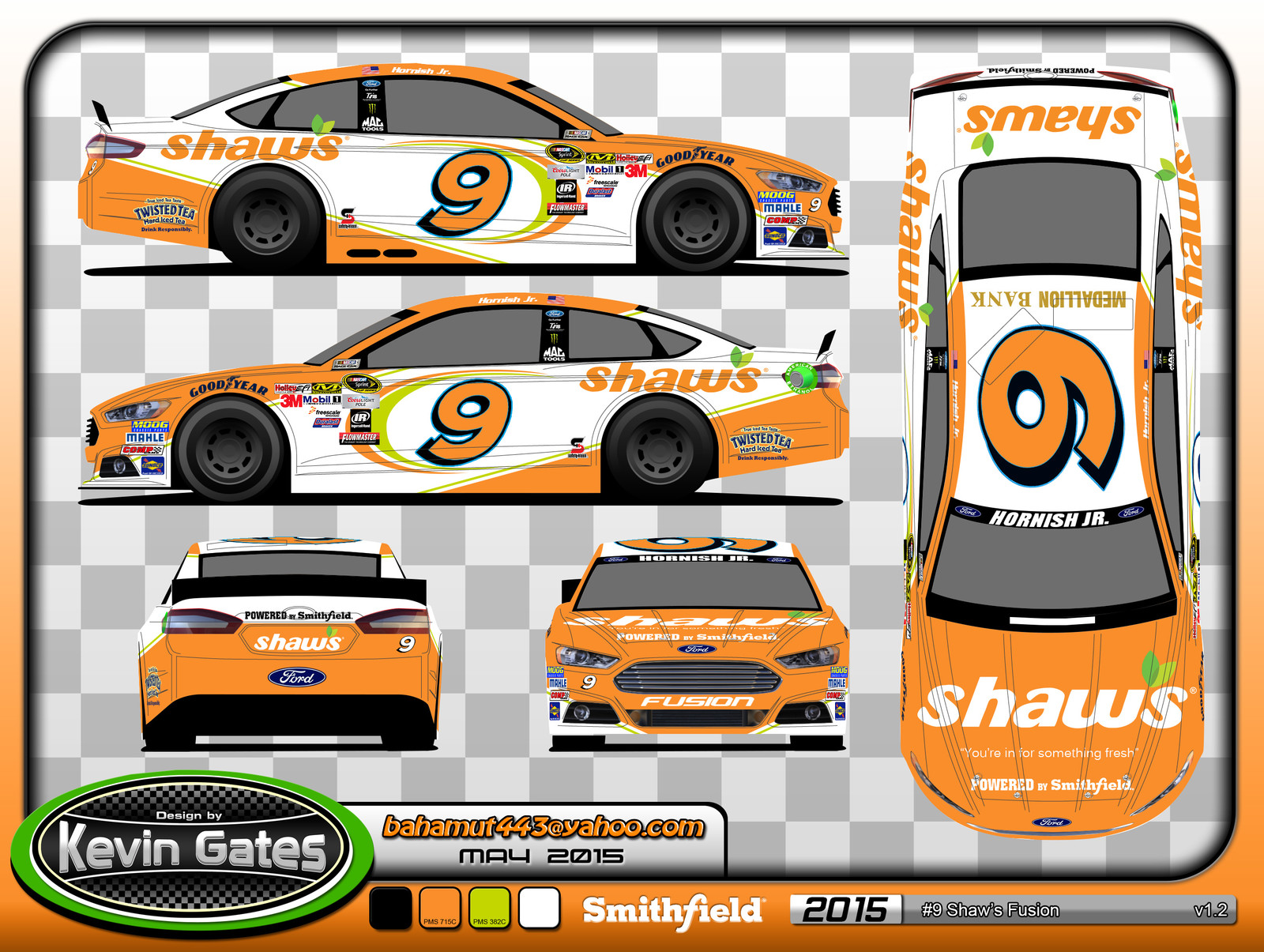 Original vector art of the 2015 #9 Shaw's Supermarkets Ford Fusion