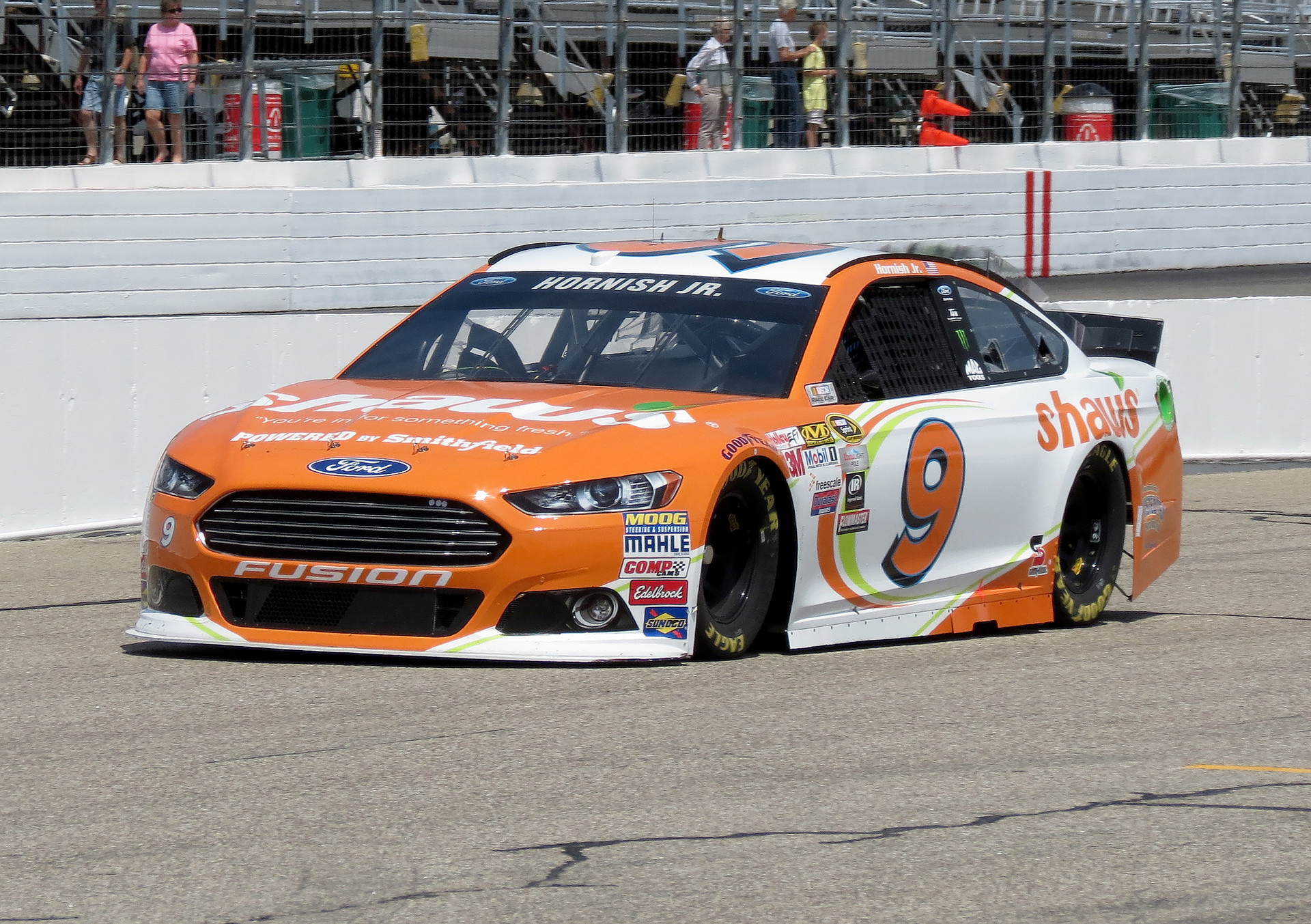 The #9 Shaw's Supermarkets Ford Fusion on track during a practice session at New Hampshire Motor Speedway on July 17th, 2015.