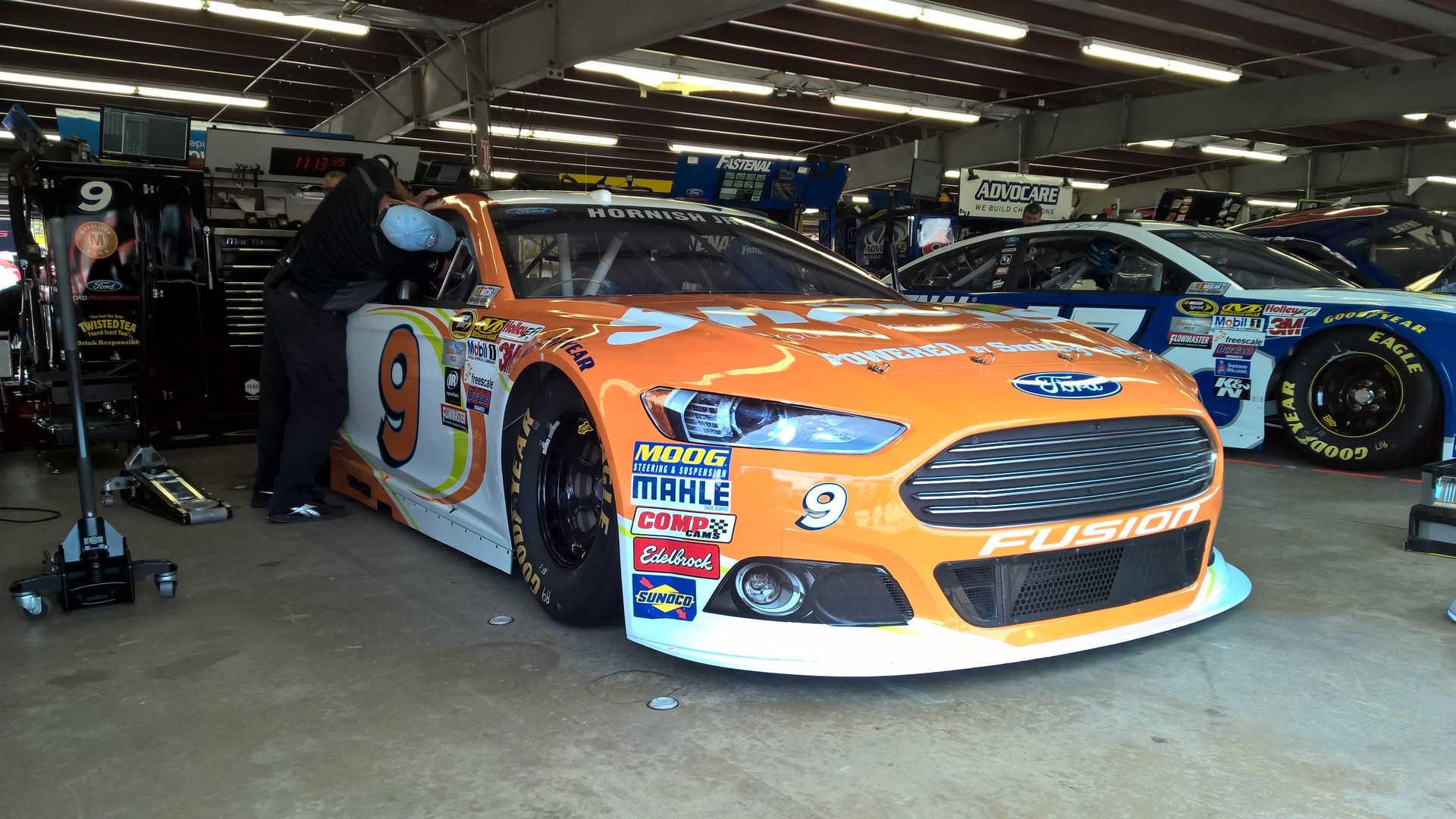 The #9 Shaw's Supermarkets Ford Fusion awaiting a practice session at New Hampshire Motor Speedway on July 17th, 2015.
