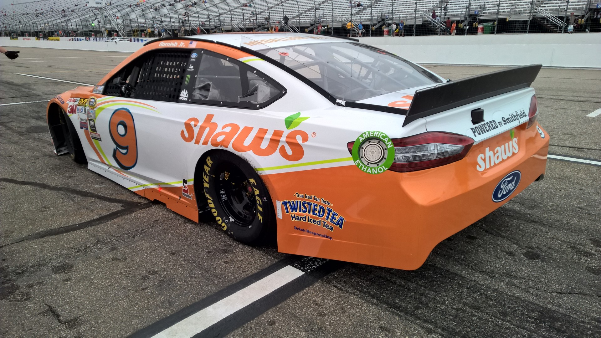 The #9 Shaw's Supermarkets Ford Fusion during a practice session at New Hampshire Motor Speedway on July 18th, 2015.
