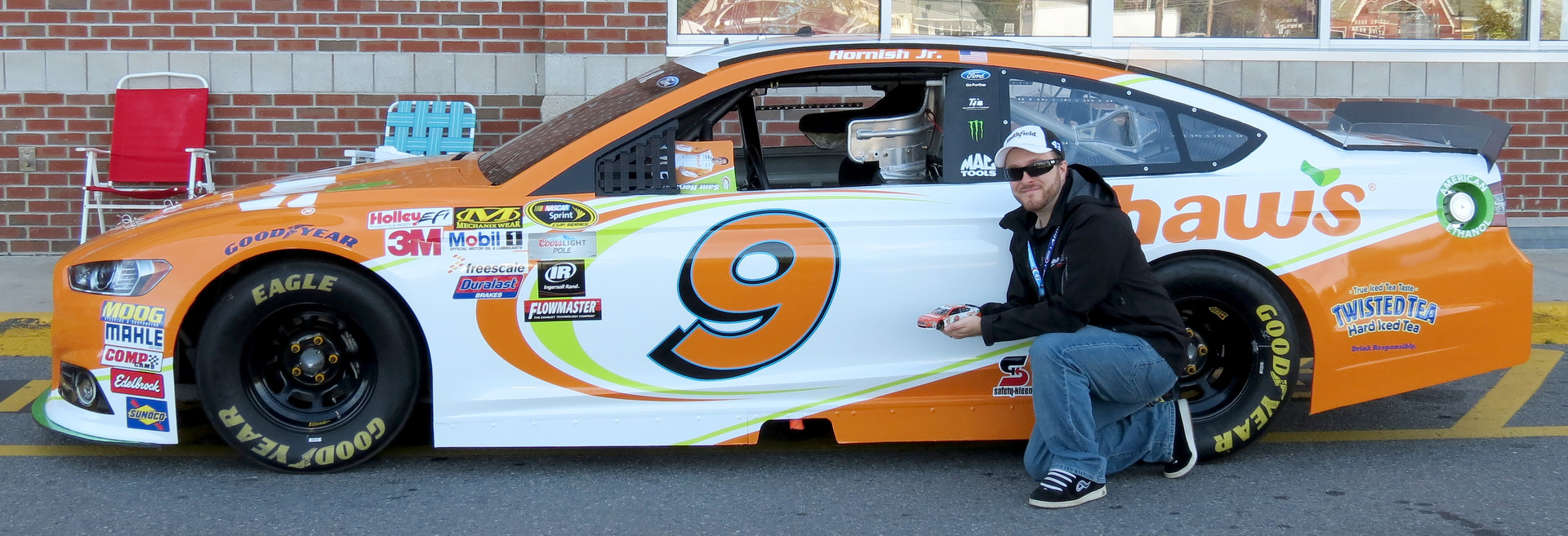Posing with my custom #9 Shaw's Supermarkets diecast outside Shaw's of Concord, New Hampshire. September 26th, 2015.