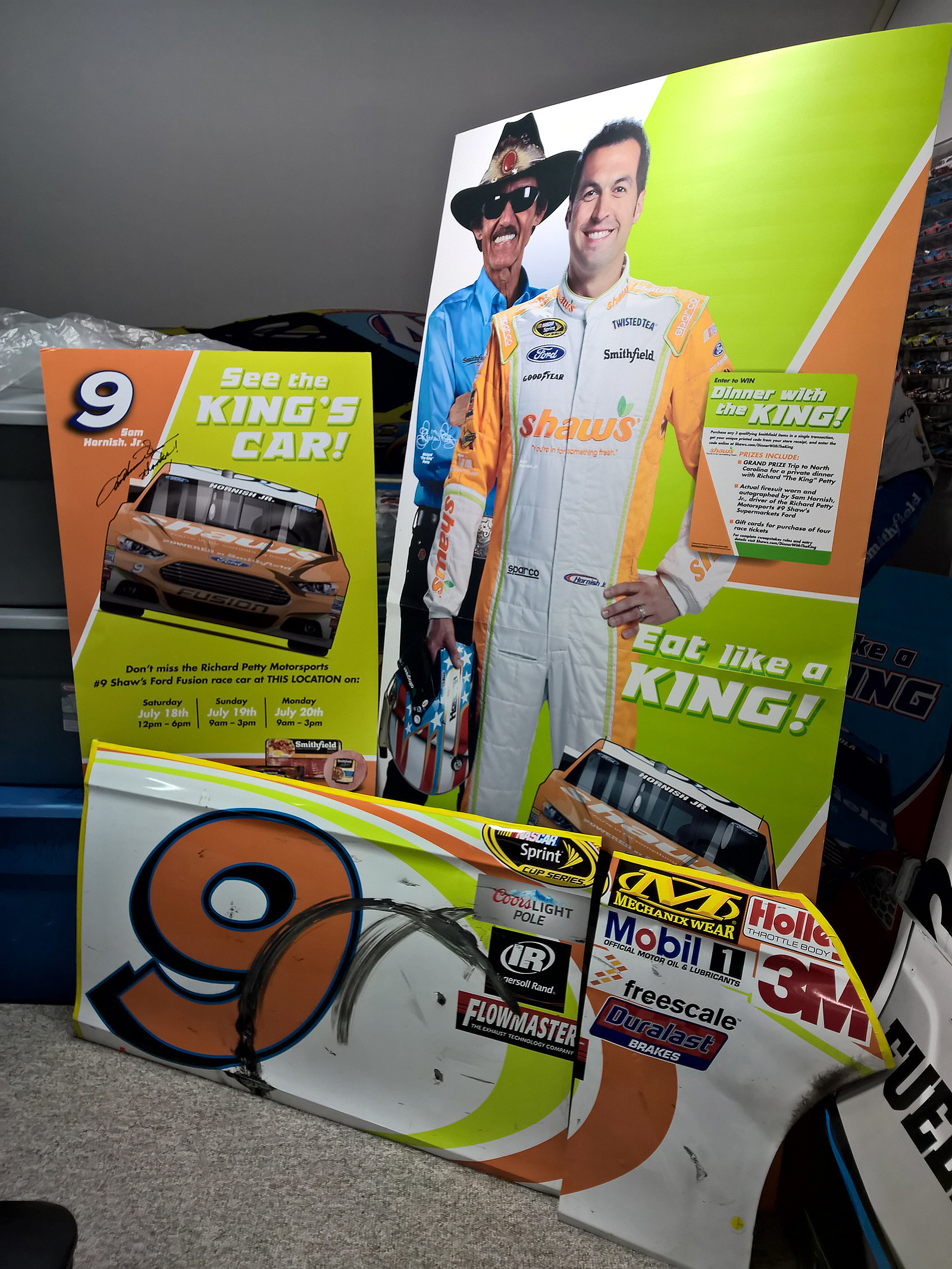 Shaw's Supermarkets store display standup featuring NASCAR legend and team owner Richard Petty and driver Sam Hornish Jr. with a door panel from the #9 race car in my personal collection.