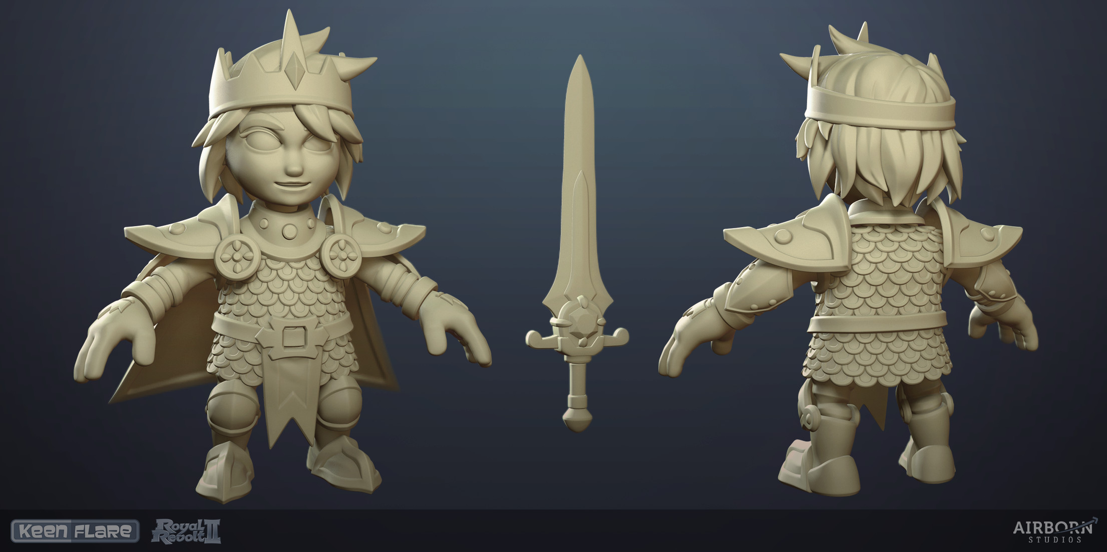 Royal Revolt 2: Hero high-poly model by Tim Moreels