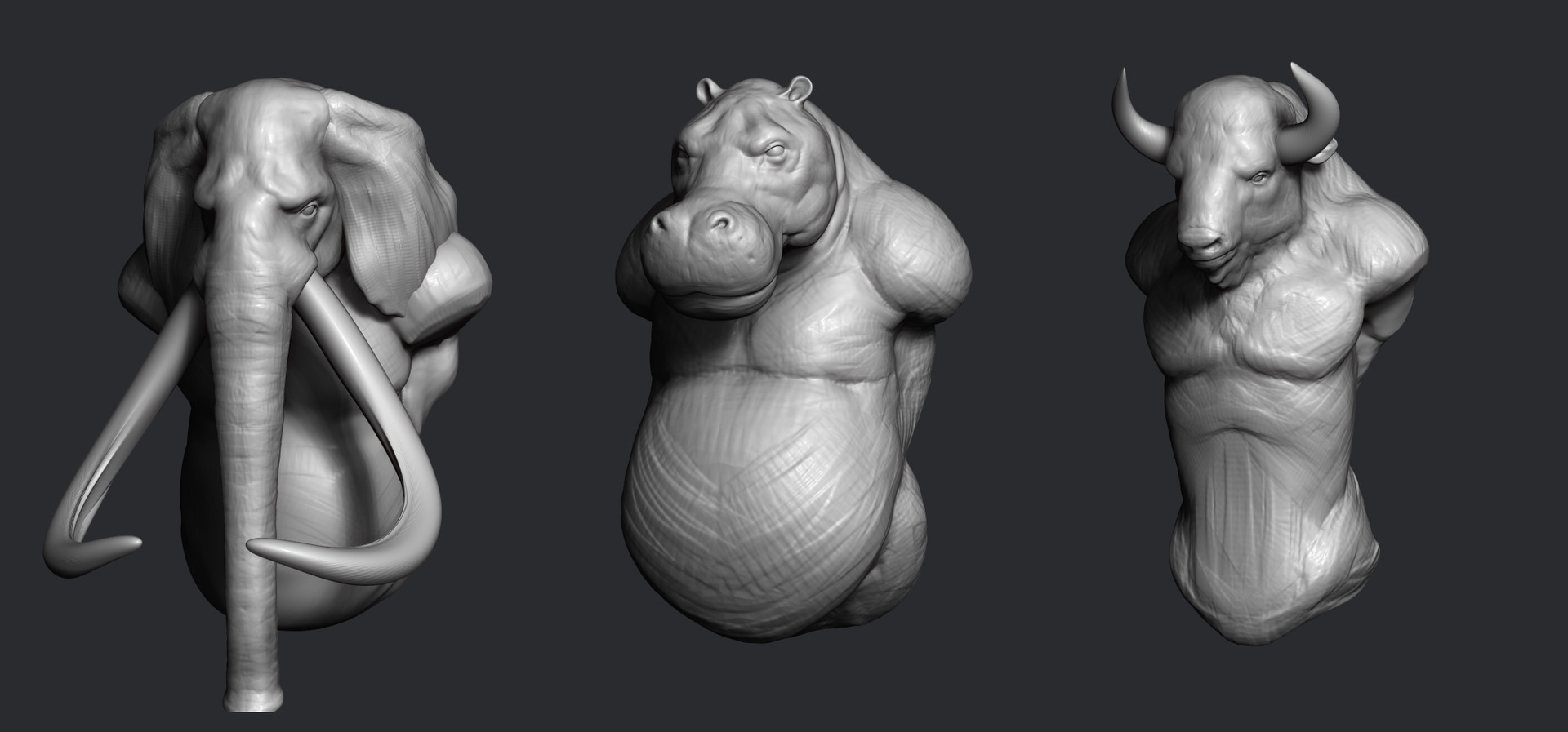 The next animals to make. This is how it start with super quick and rough 10 min sketches.