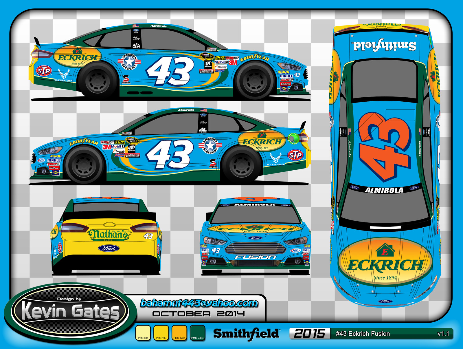 Original vector print sheet of the finalized 2015 #43 Eckrich Ford Fusion driven by NASCAR Sprint Cup Series driver Aric Almirola of Richard Petty Motorpsorts