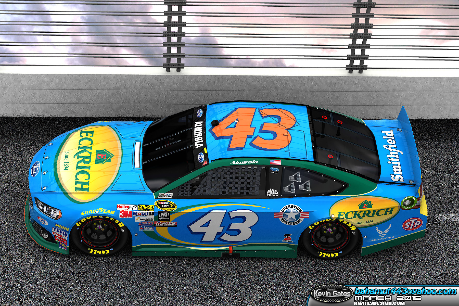 Autodesk 3DS Max render provided to Smithfield Foods depicting the 2015 #43 Eckrich paint scheme on track