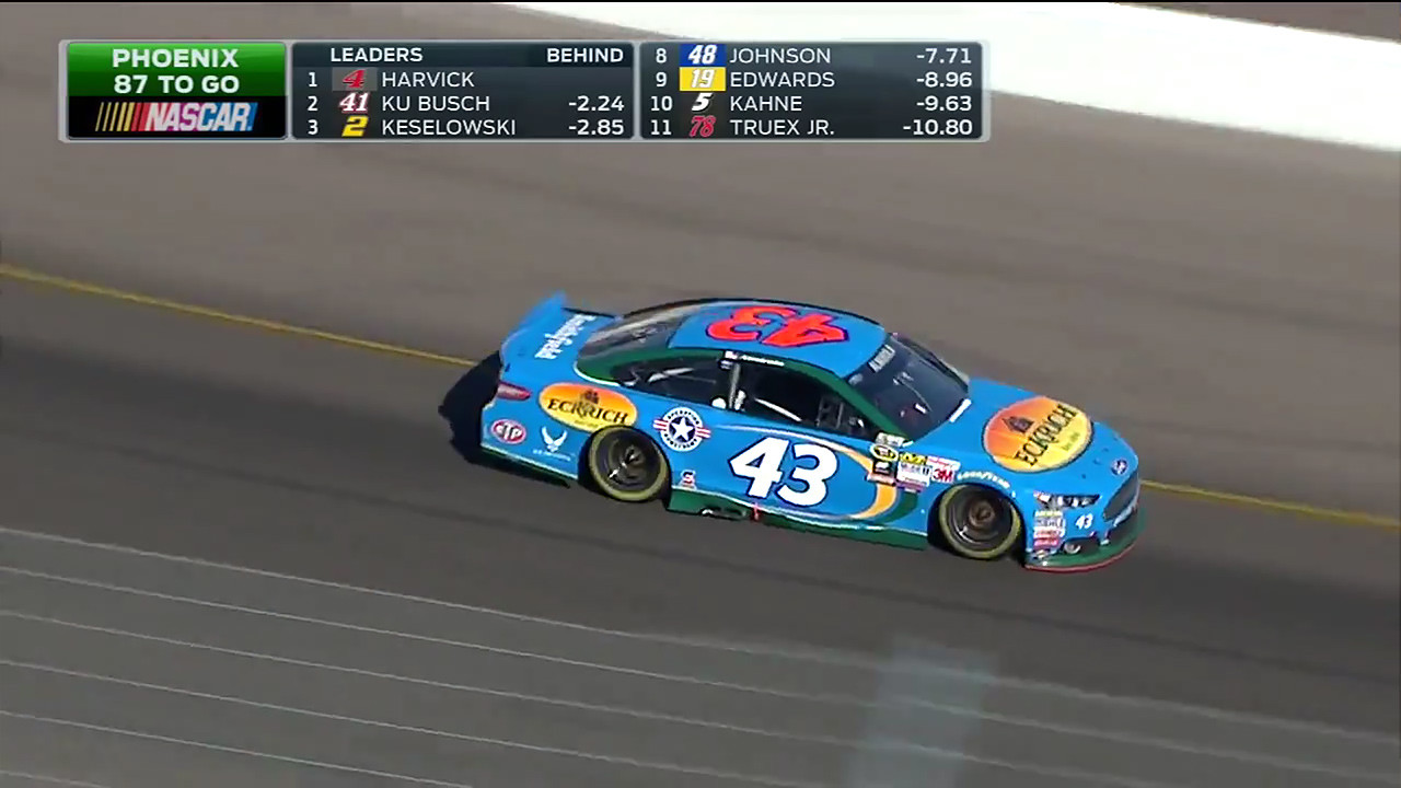 Aric Almirola's 2015 #43 Eckrich Ford Fusion as seen on FOX Sports during the CampingWorld.com 500 at Phoenix International Raceway on March 15, 2015
