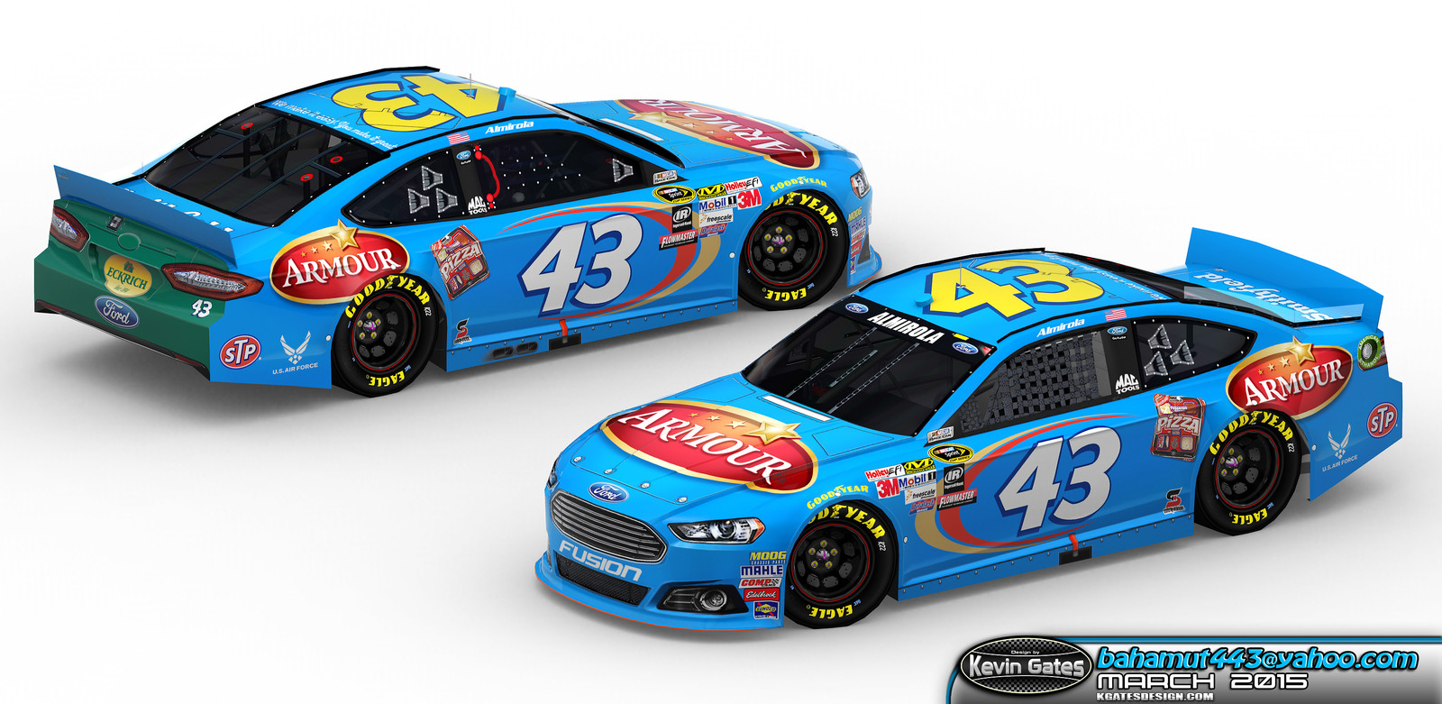 Original Autodesk 3DS Max render of the finalized 2015 #43 Armour Ford Fusion driven by NASCAR Sprint Cup Series driver Aric Almirola of Richard Petty Motorsports