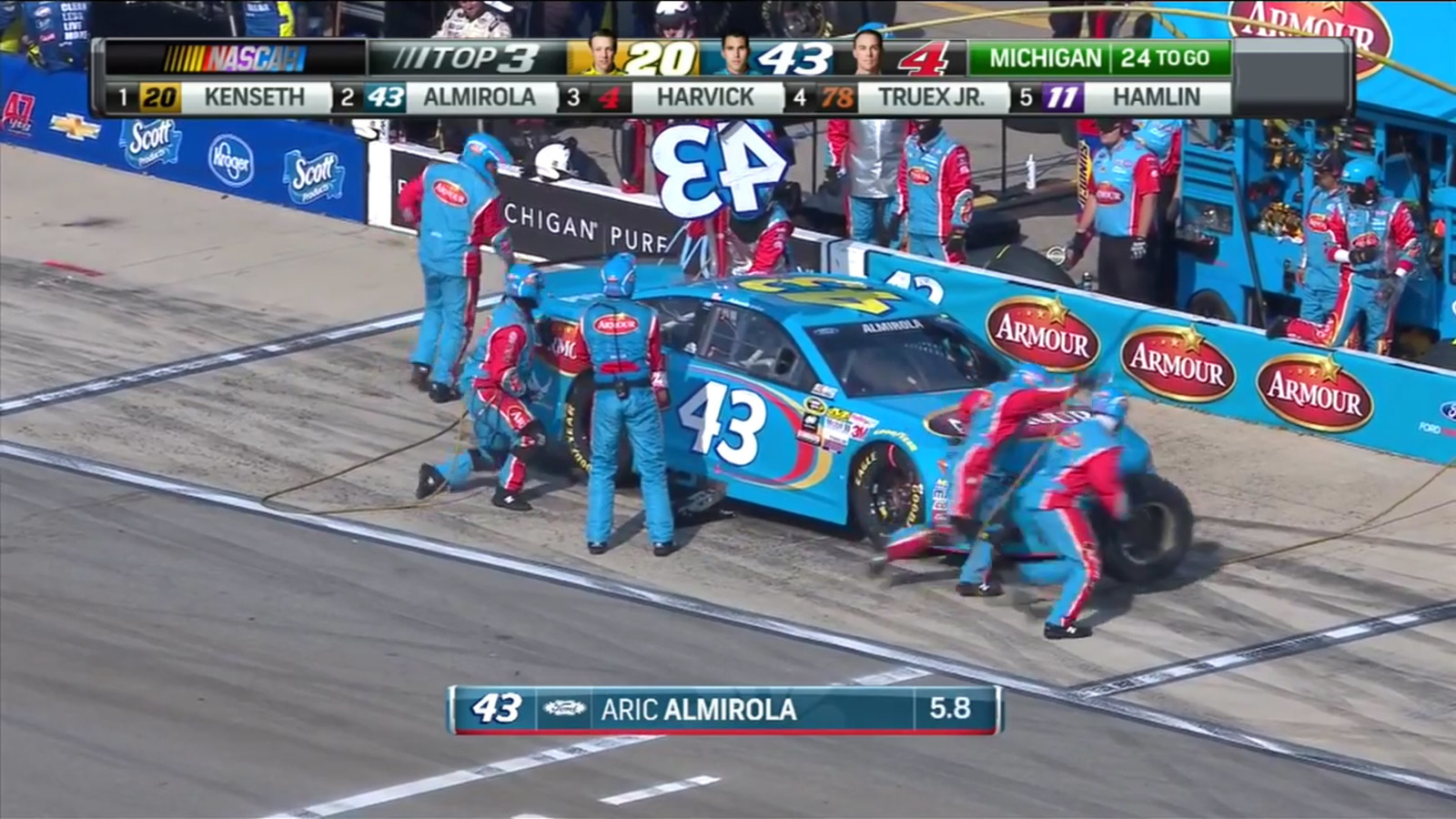 Almirola's crew hard at work pitting the #43 Armour Ford Fusion. Screen capture from NBC's live broadcast of the Pure Michigan 400 on August 16th, 2015. (Credit: NBC Sports)