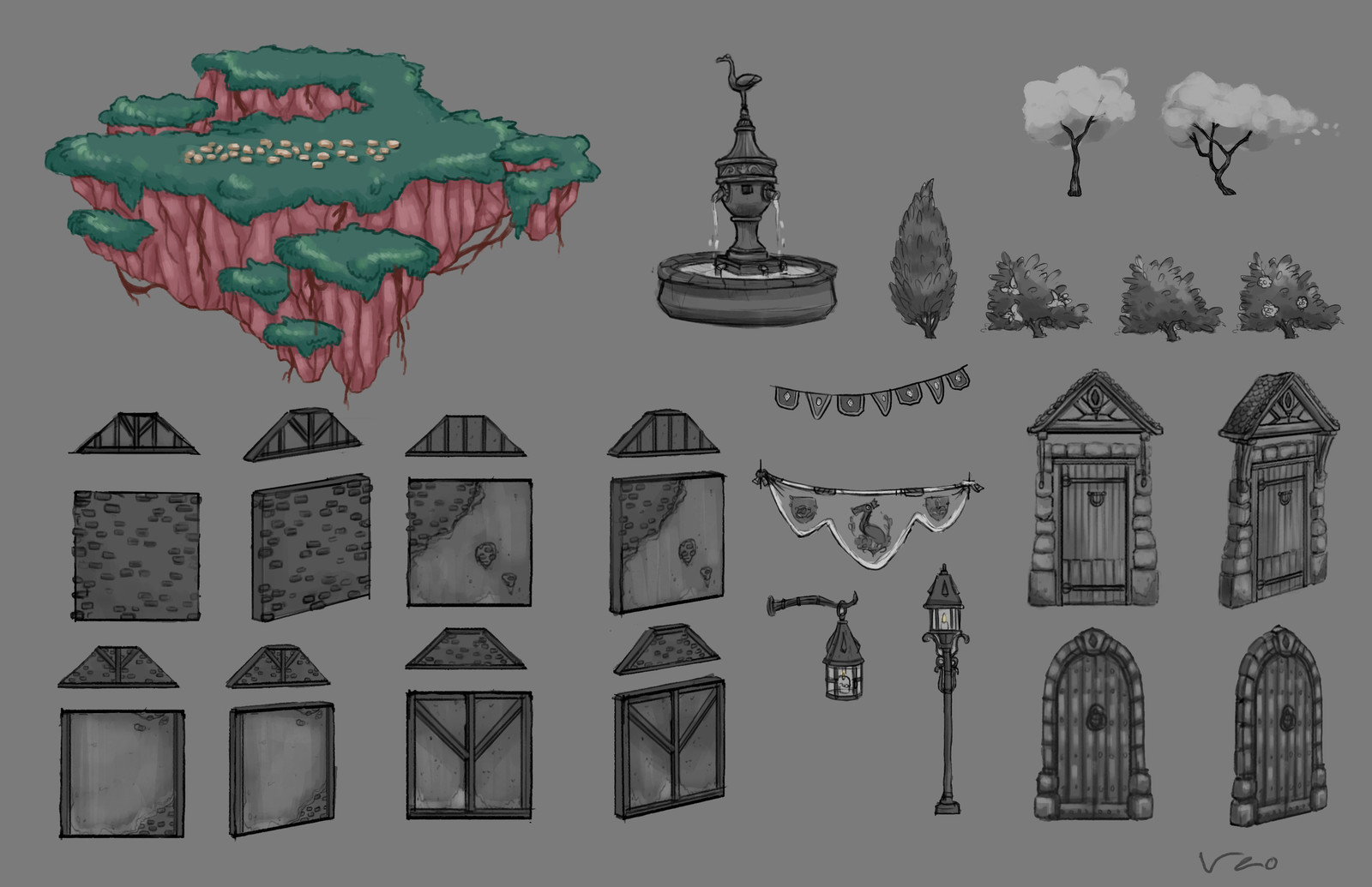 Environnement concept. Thumbnails too guide the level artists.